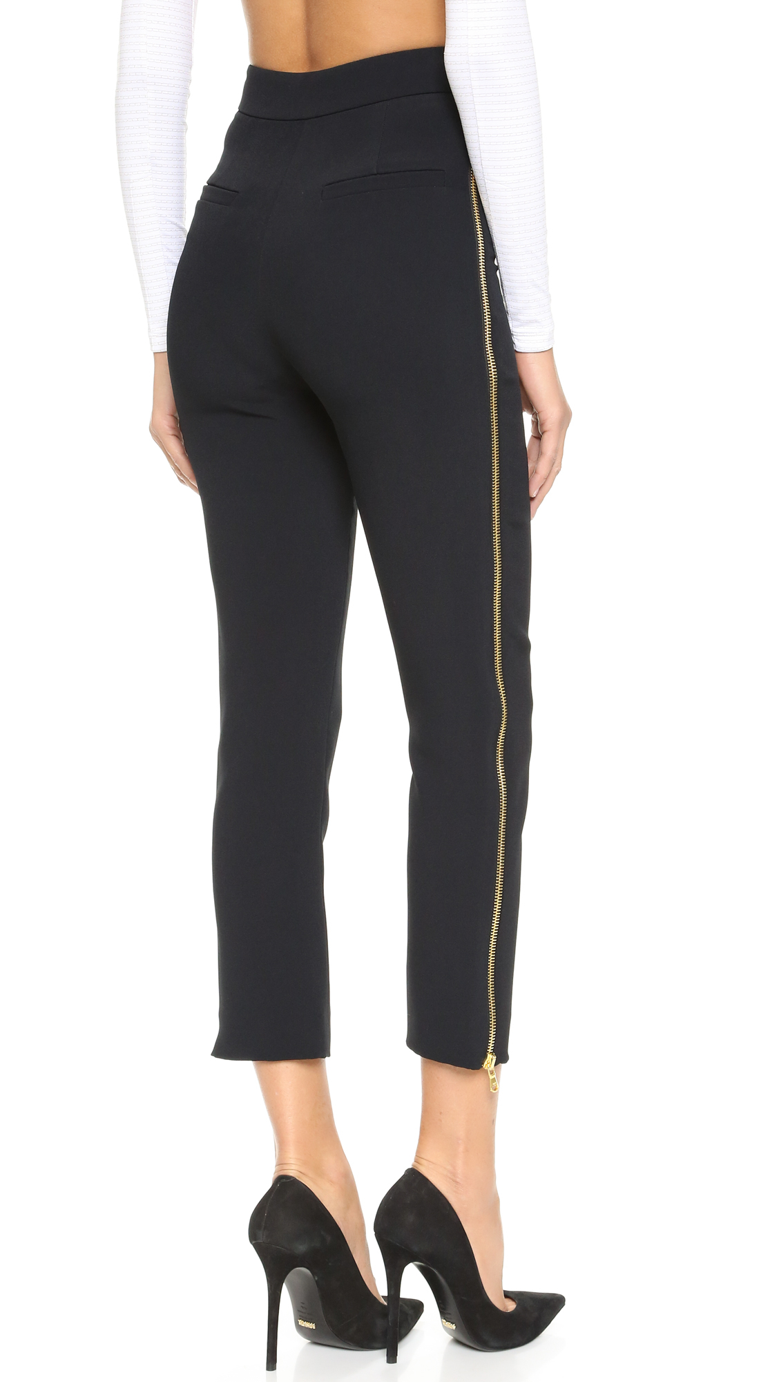 Straight Leg Side-Zip Pants: The secret to comfort is in our smooth elastic waistband. Pants sit at the waist and have back darts for shaping.