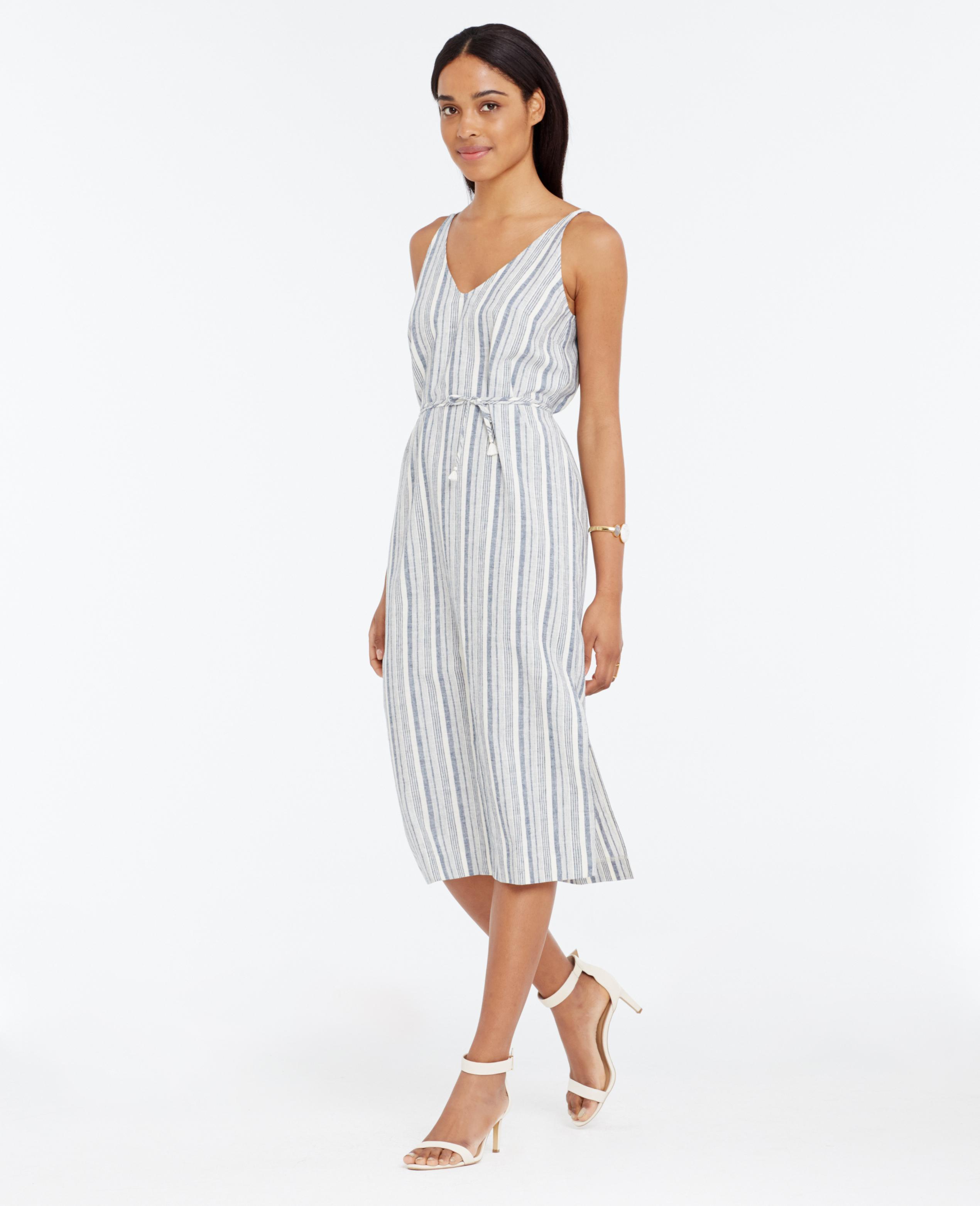 3628e0882da3e4 Ann Taylor Petite Striped Linen Cotton Midi Dress in Blue - Lyst