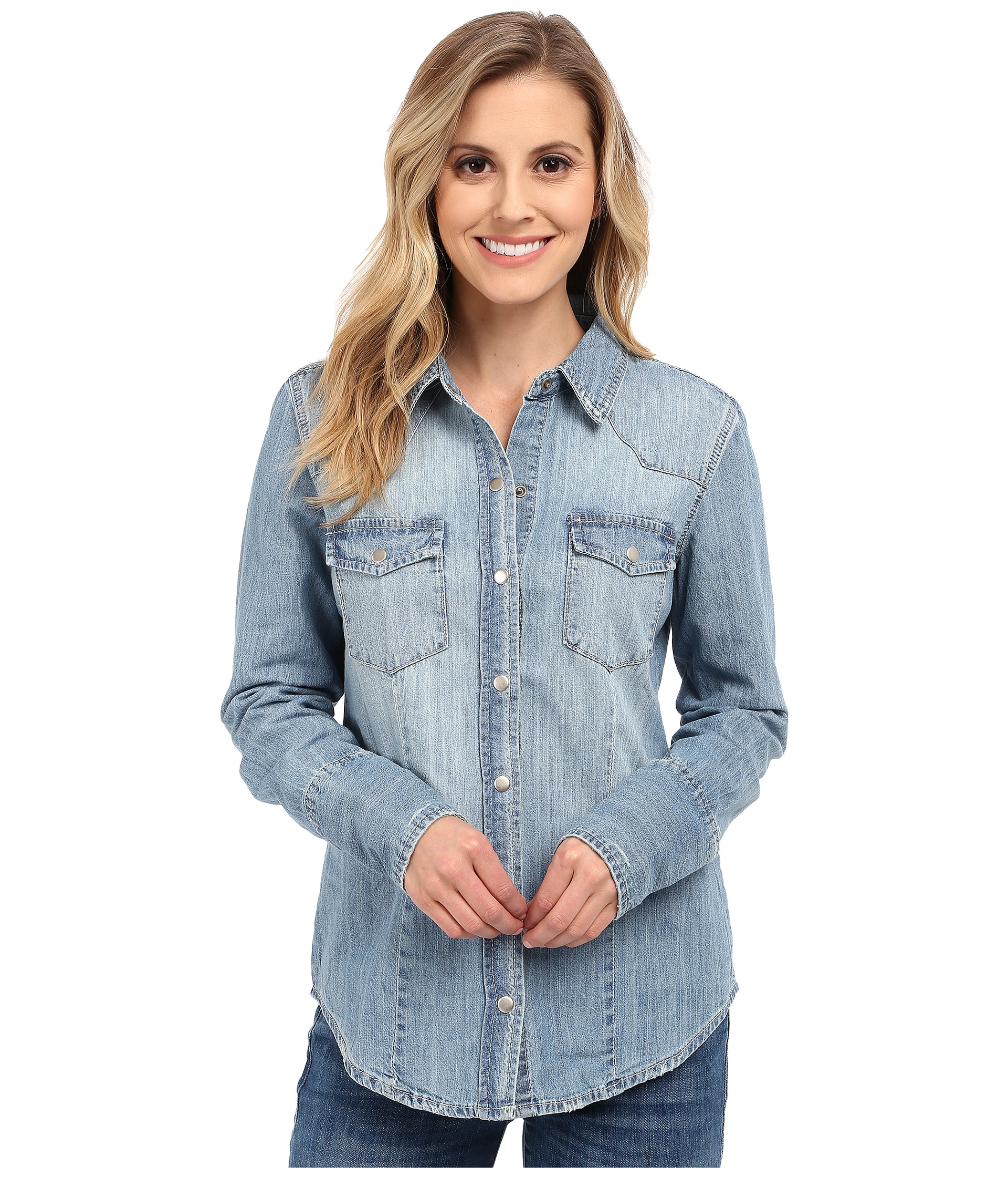 0ee52859 Stetson Light Blue Denim Long Sleeve Western Shirt in Blue - Lyst