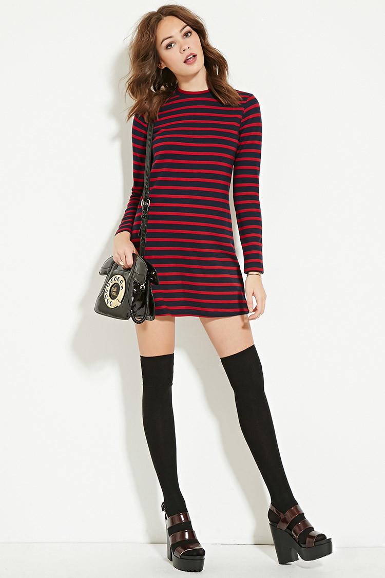 d6d7d87f571 Burgundy And Black Striped Dress - Data Dynamic AG