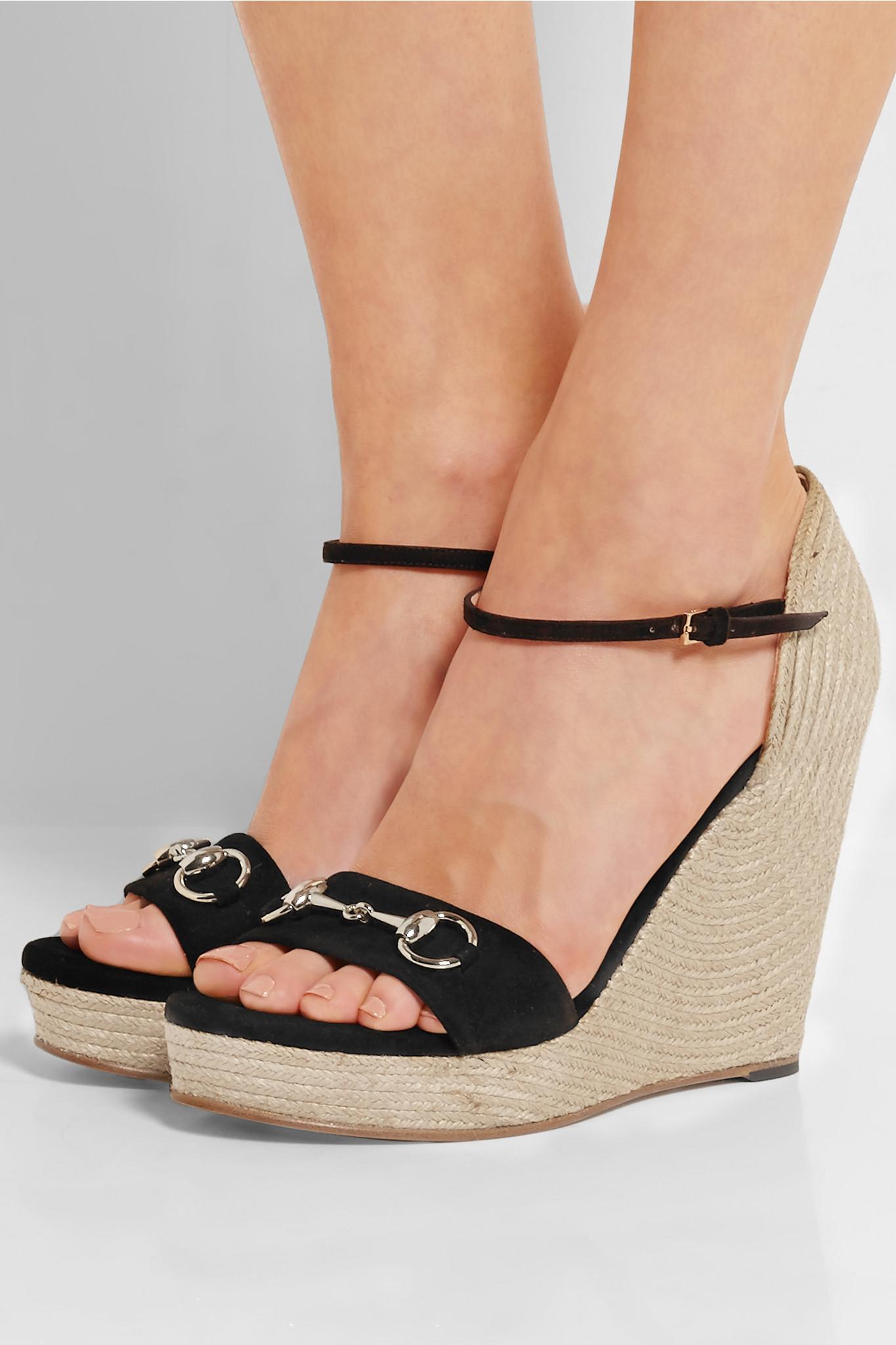 33af2637 Gucci Black Horsebit-detailed Suede Espadrille Wedge Sandals