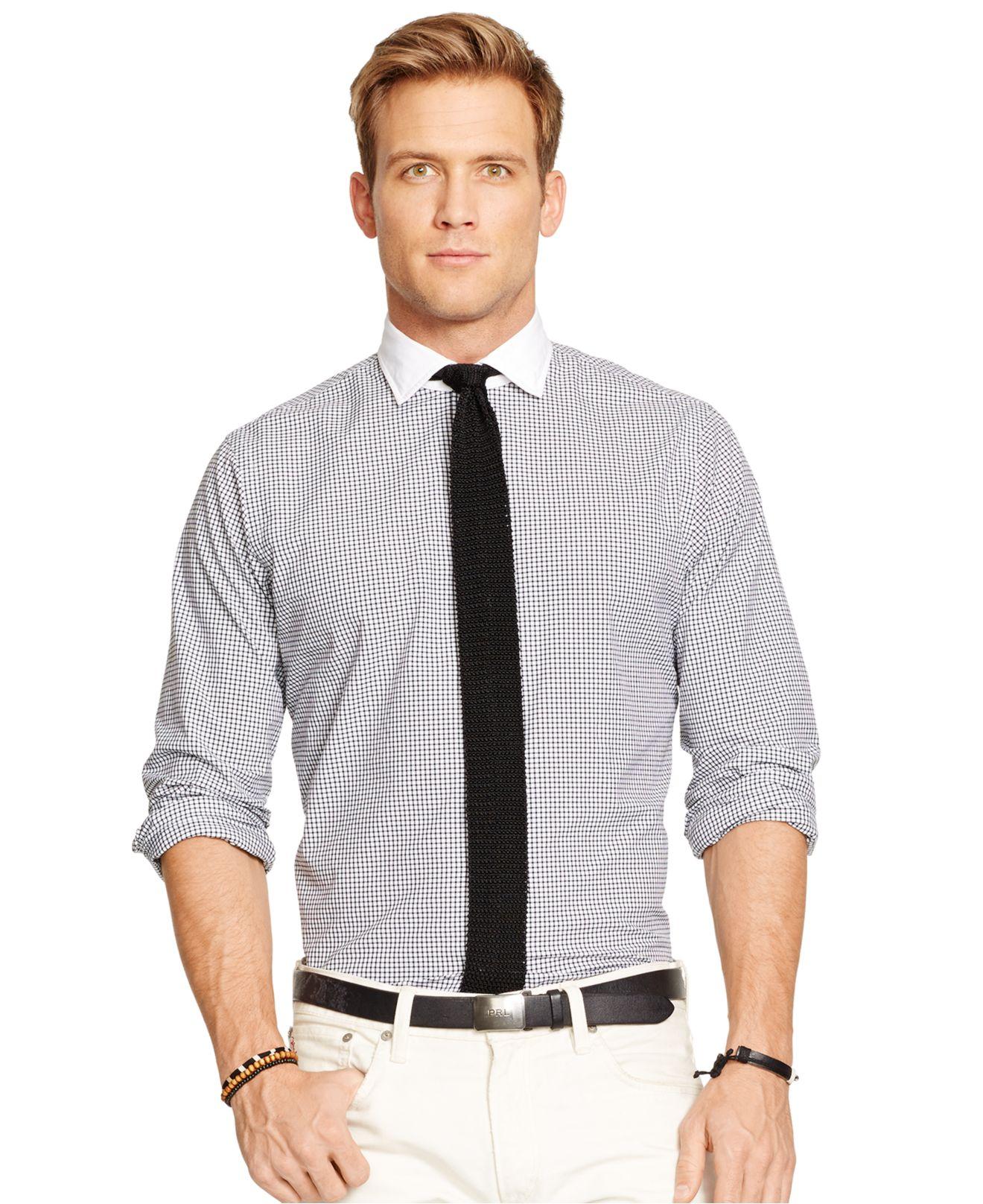e7f636e880f48 ... netherlands lyst polo ralph lauren checked poplin estate shirt in white  for men 3f00c 38910