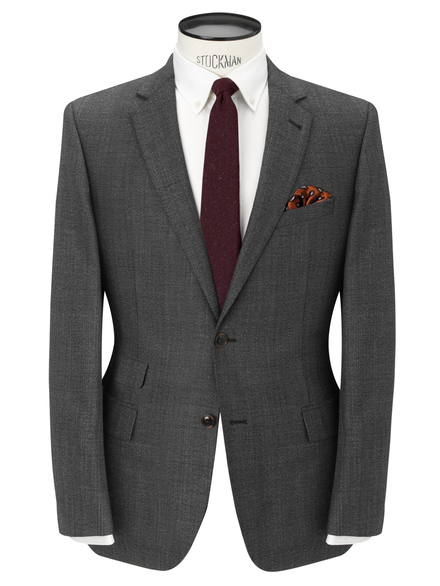 John Lewis Wool Tailored Chepstow Check Single Breasted Suit Jacket in Grey (Grey) for Men