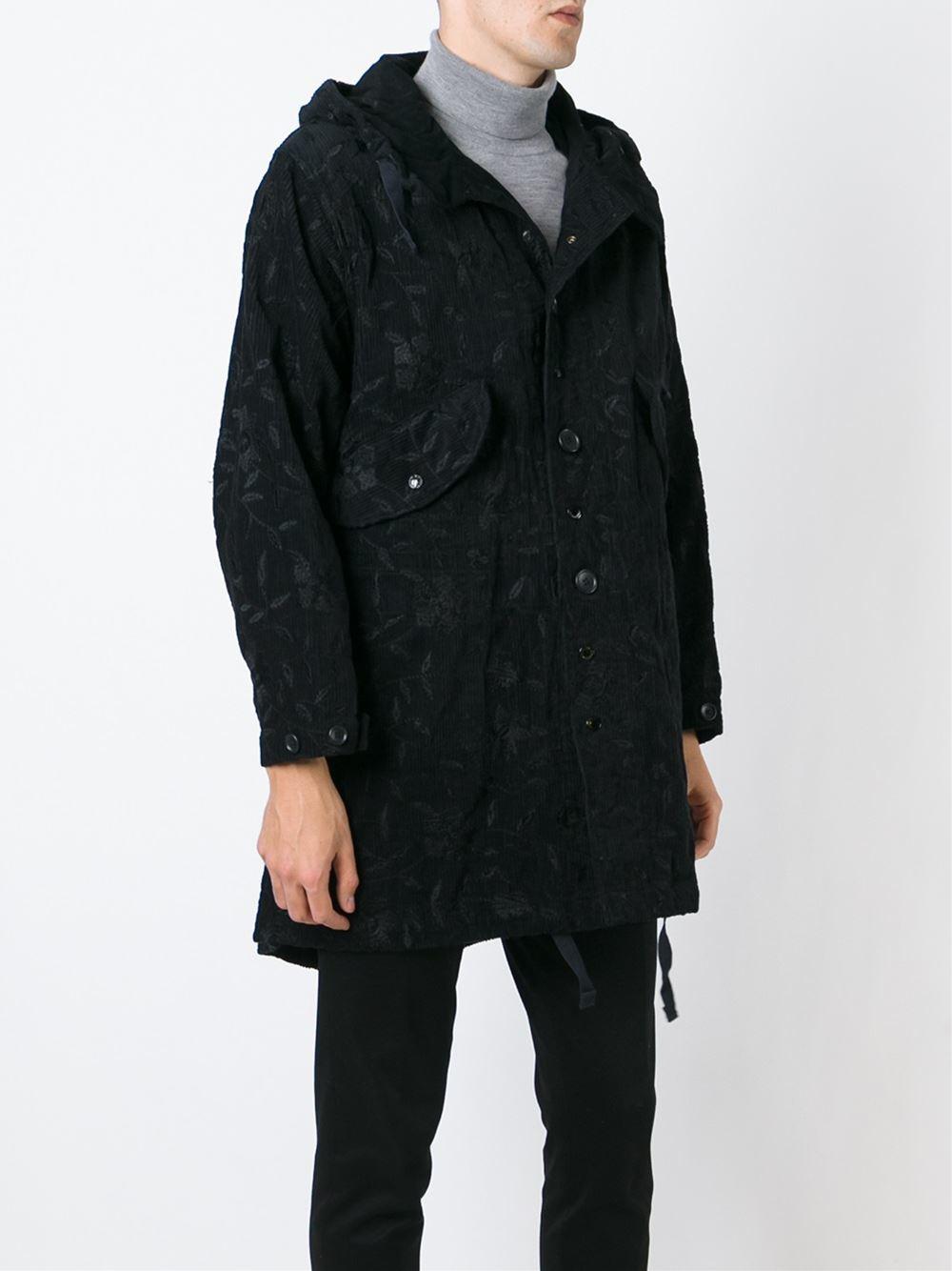 Engineered Garments Floral Corduroy Parka in Black for Men