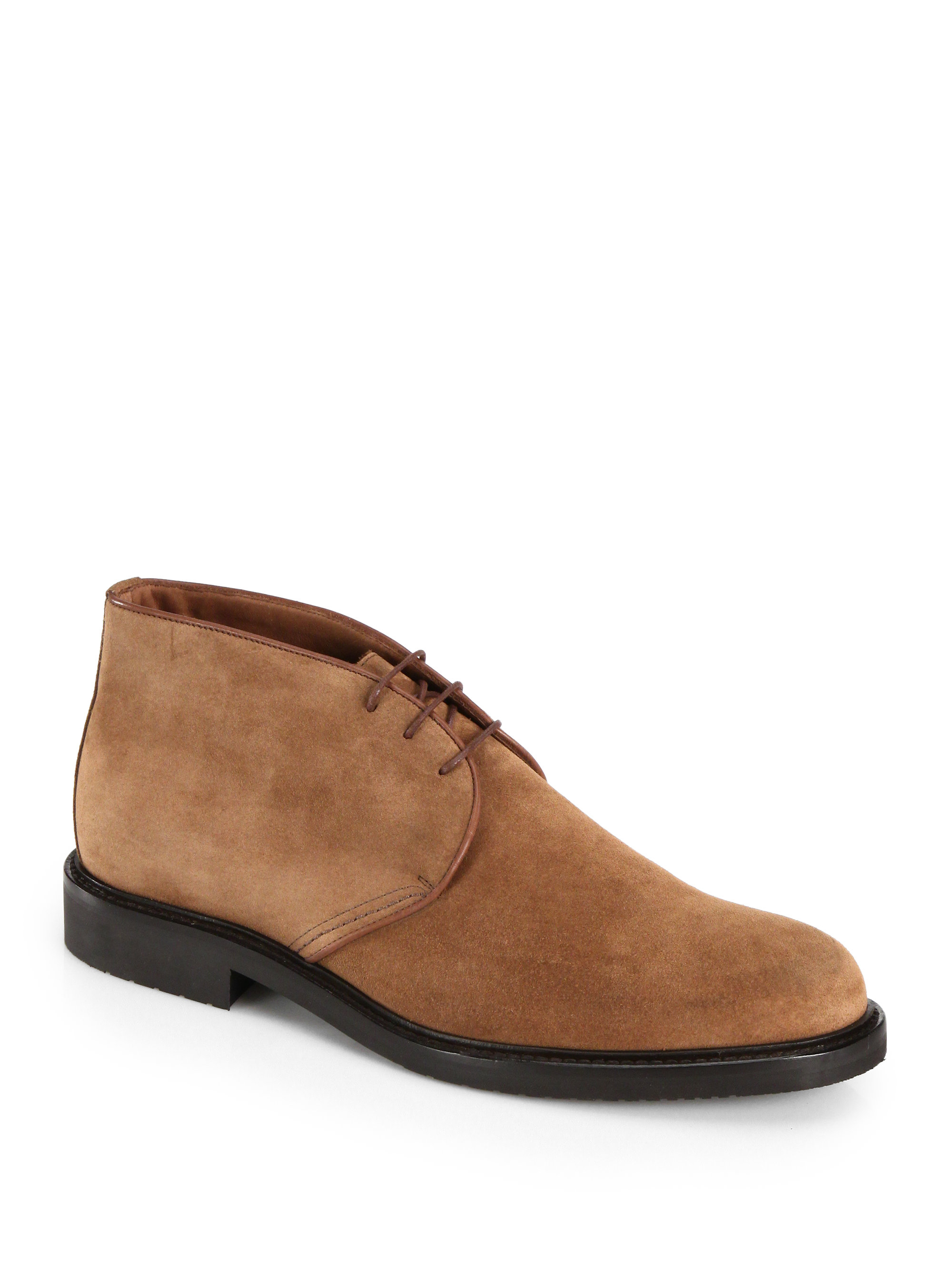 saks fifth avenue suede chukka boots in brown for lyst