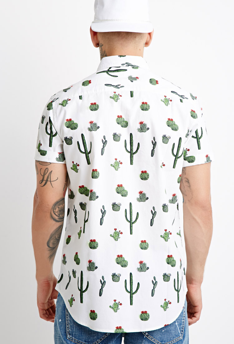 Lyst forever 21 cactus print shirt you 39 ve been added to for Shirts to print on