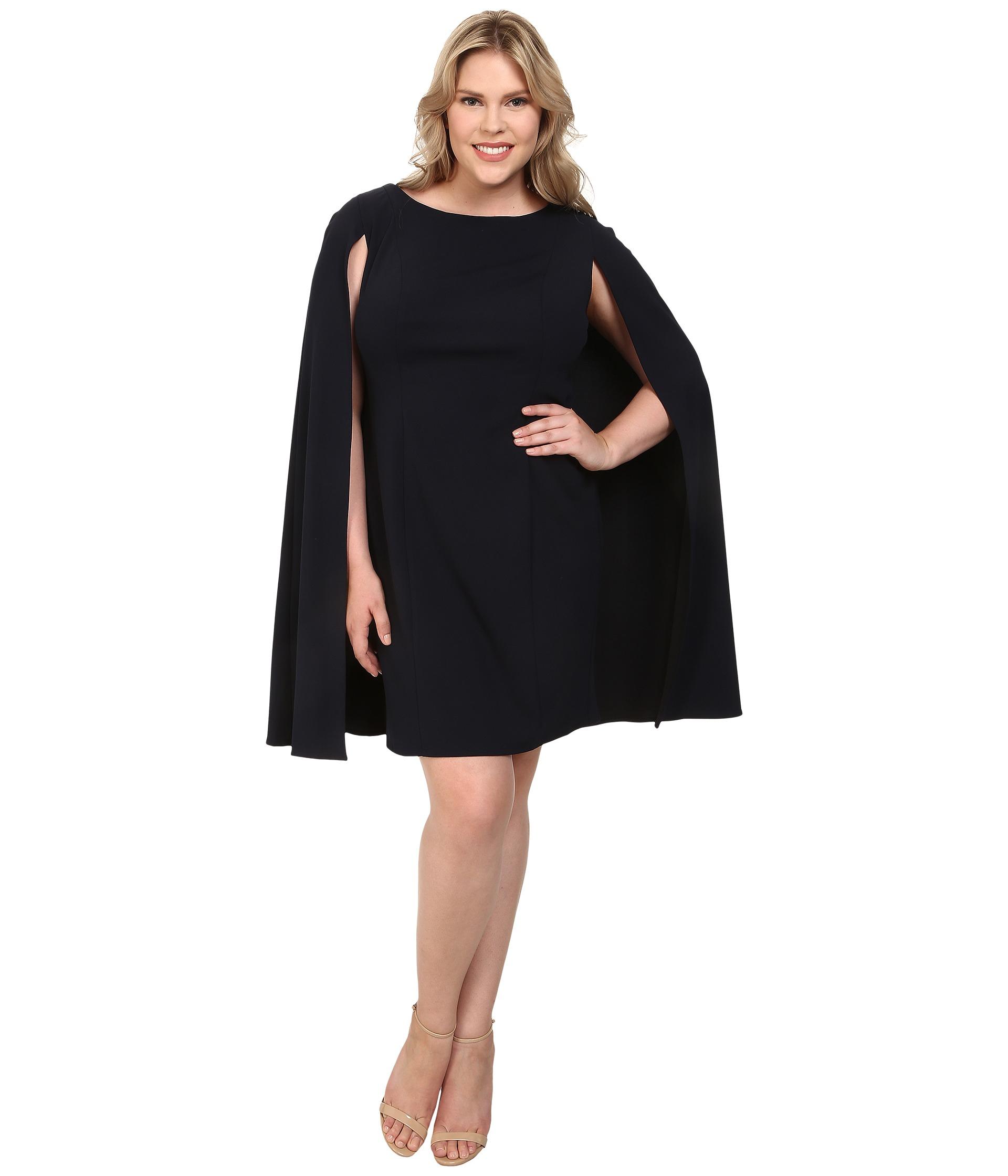 Women\'s Blue Plus Size Structured Cape Sheath Dress