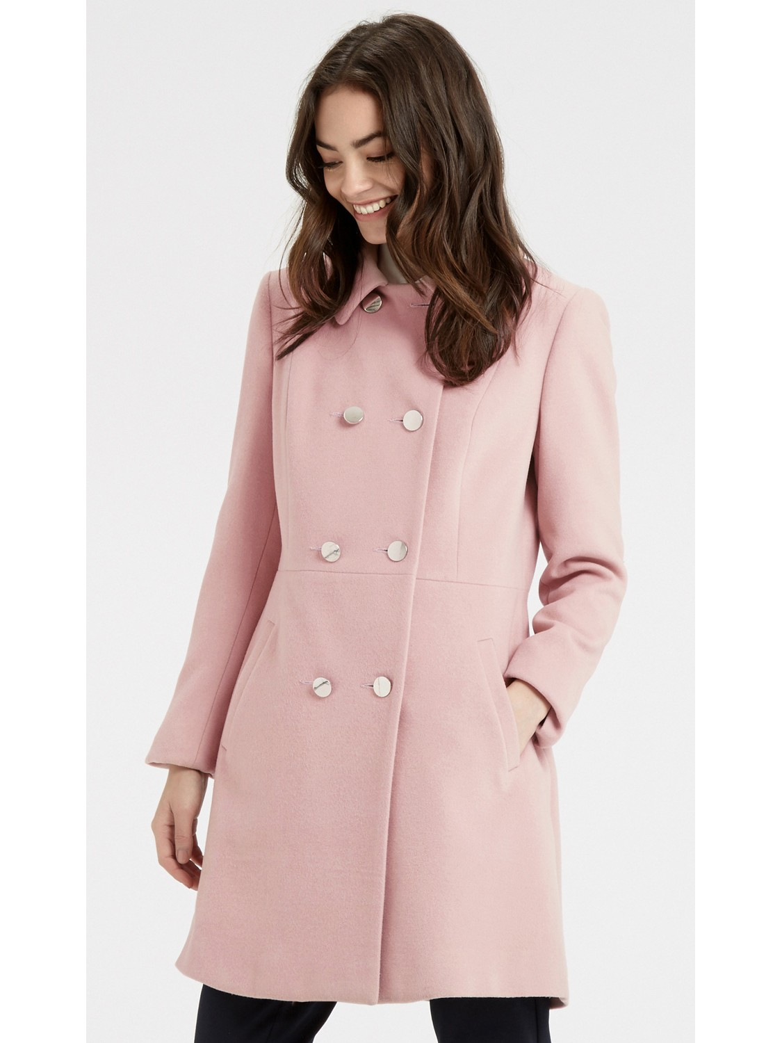 Oasis Double Breasted Princess Coat in Pink | Lyst