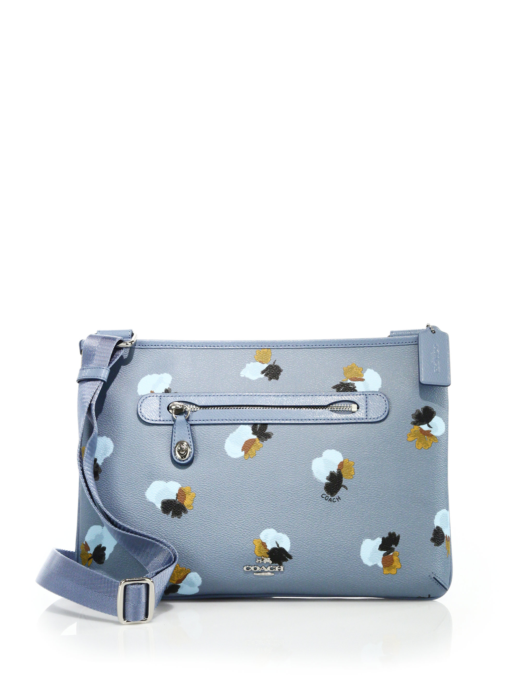 Coach Taylor Floral-print Coated Canvas Crossbody Bag In Blue | Lyst