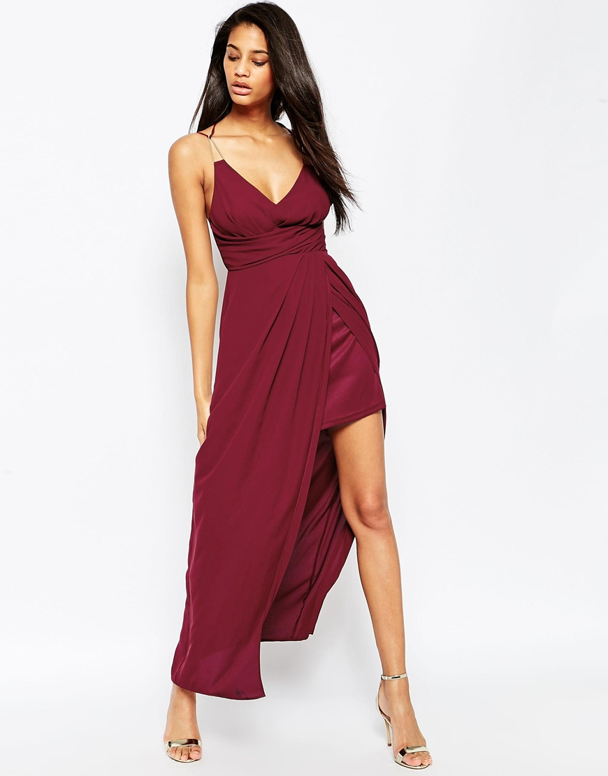 Lyst Asos Triangle Bar Spaghetti Strap Maxi Dress In Purple