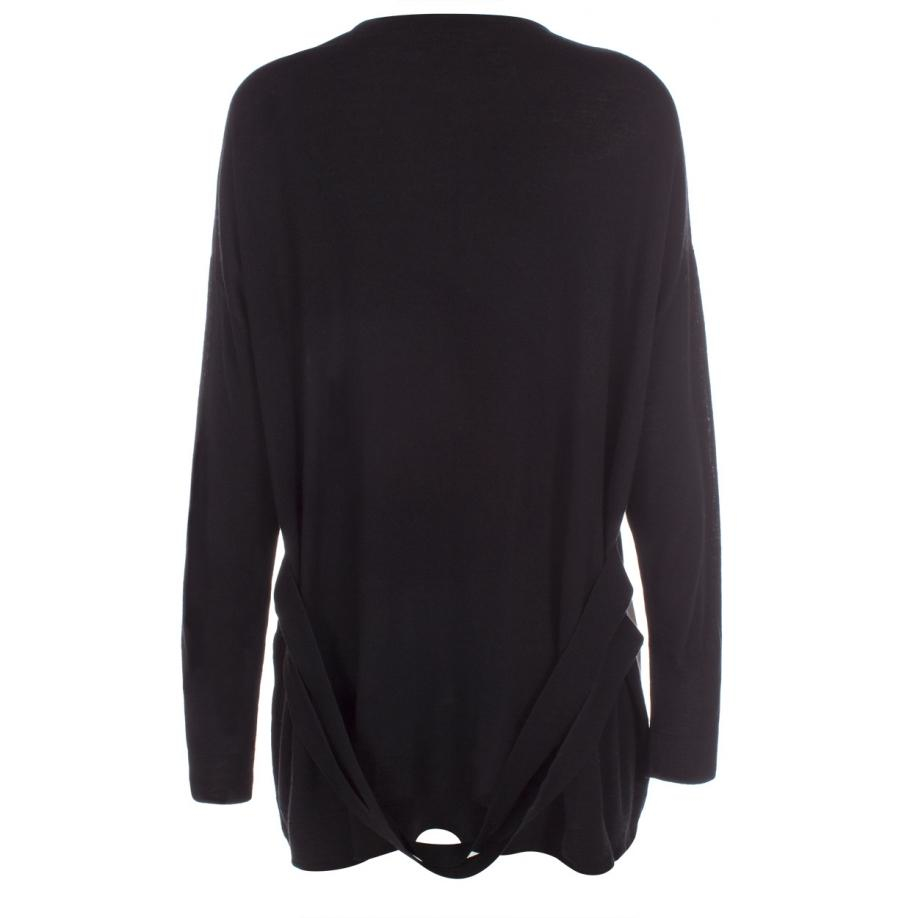 Paul smith Women's Long Black Merino Wool Cardigan With Cream ...