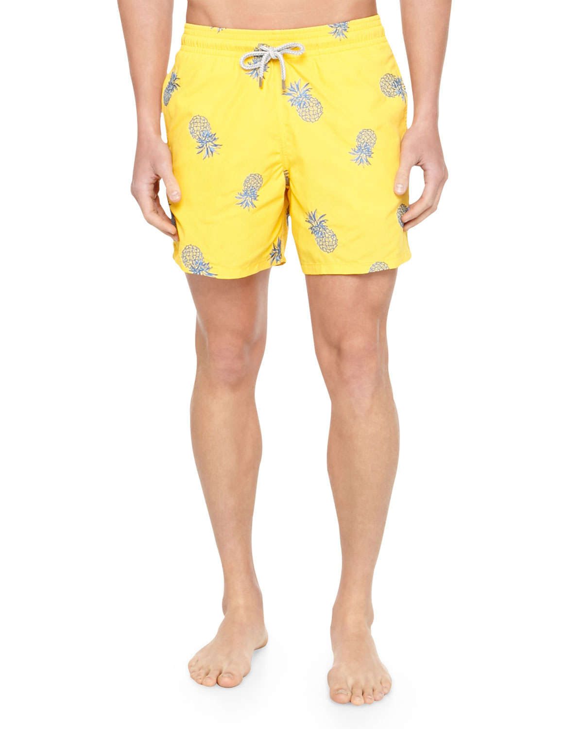 73a5cce022 Vilebrequin Mistral Embroidered Pineapple Swim Trunks in Orange for ...