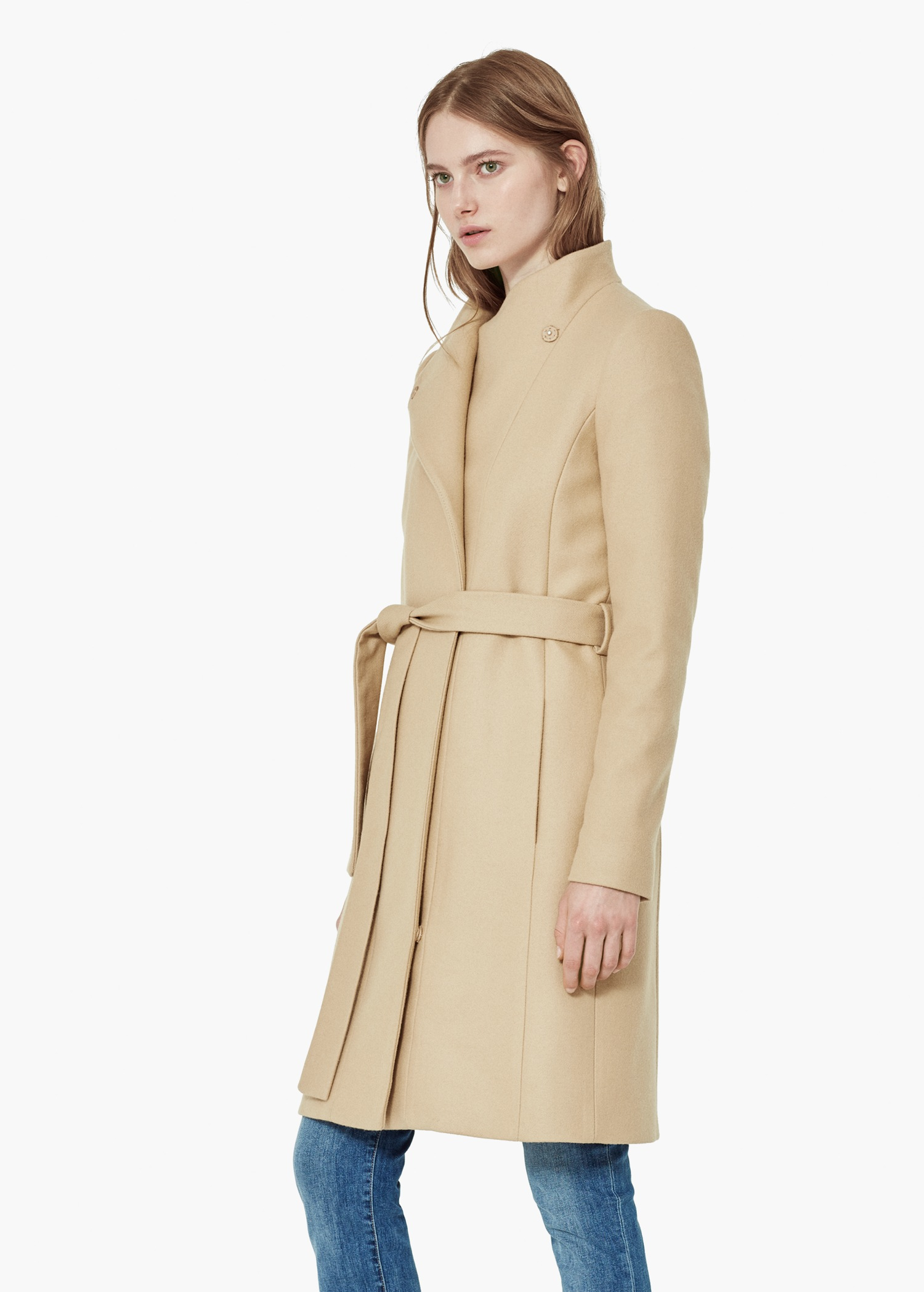 Mango Belt Wool Coat in Brown | Lyst