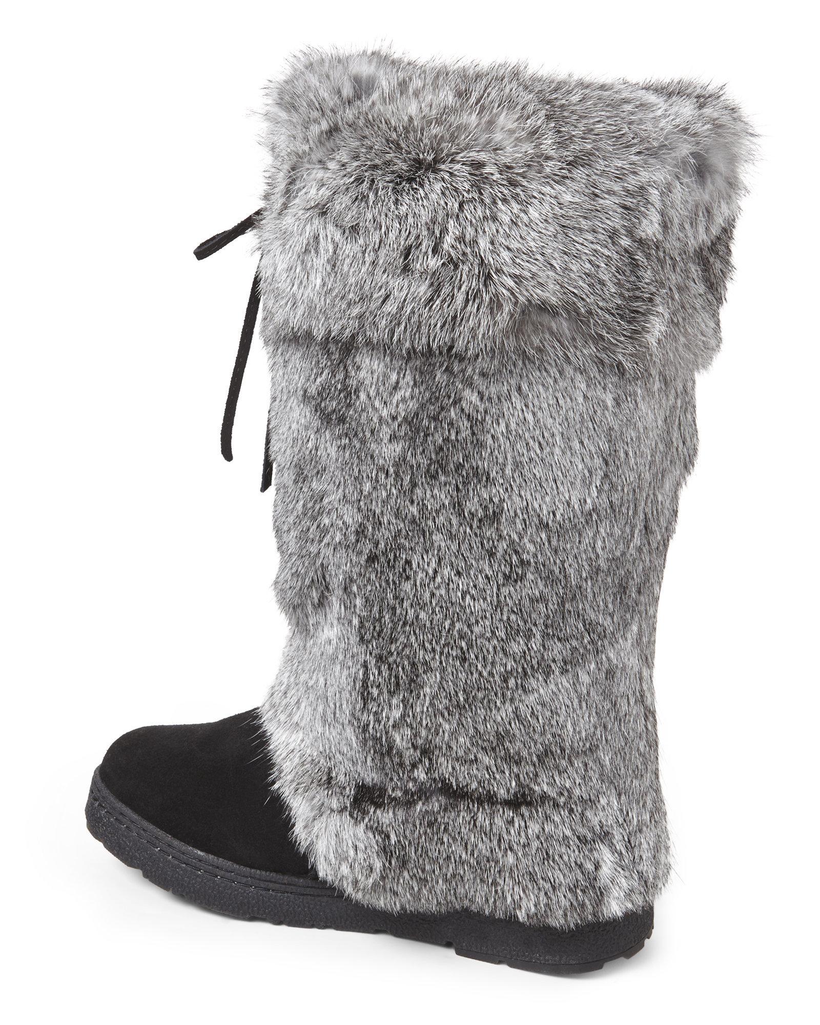 bearpaw black grey elsa real rabbit fur boots in gray lyst