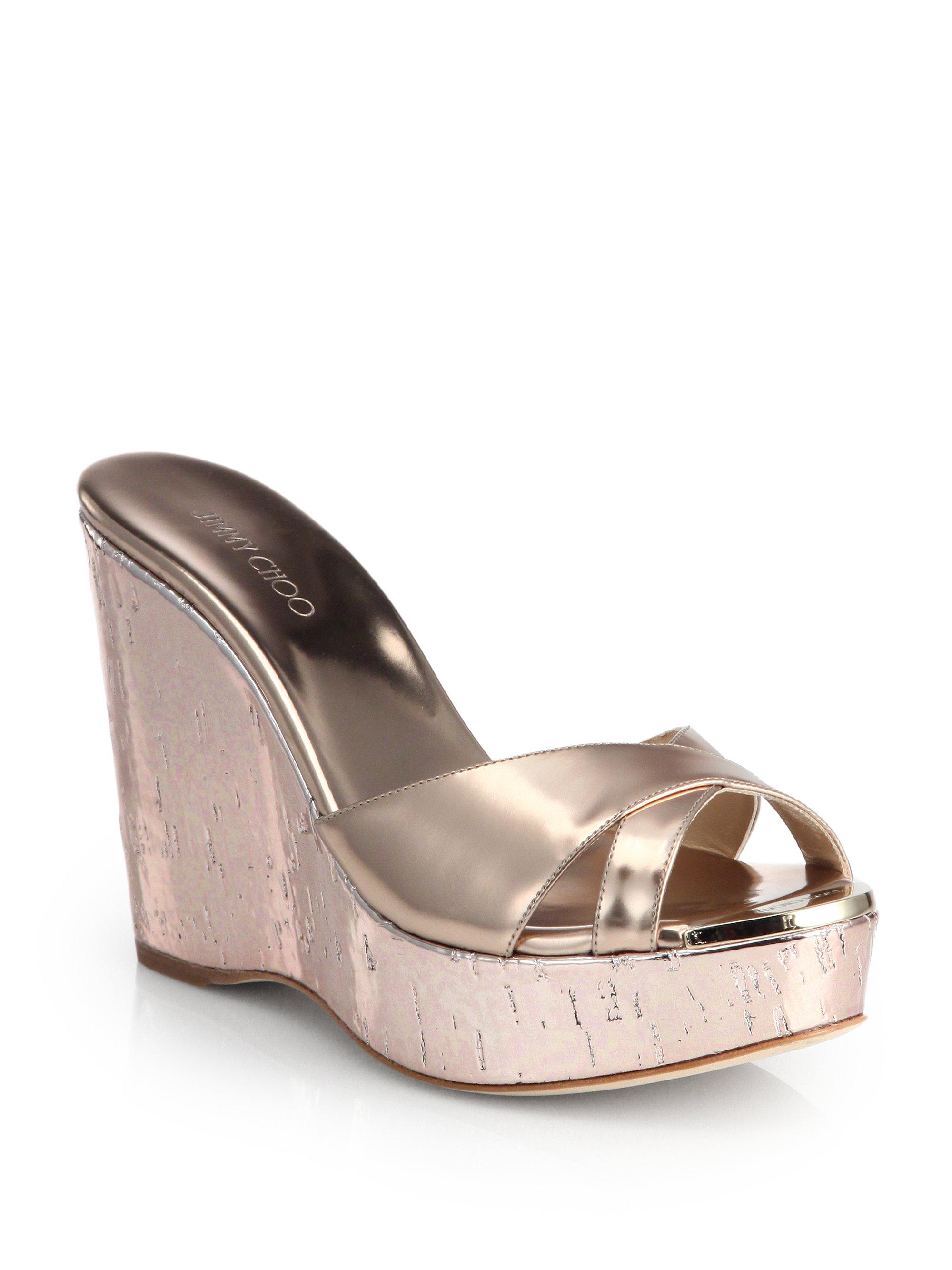 f1cdd55bfb32 ... discount lyst jimmy choo perfume metallic cork wedge sandals in  metallic 33b3e 3ef96