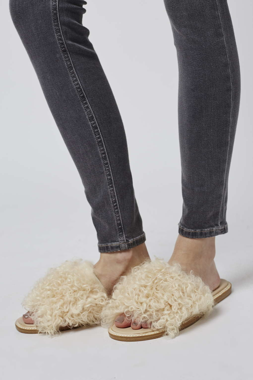 Topshop Furry Shearling Slide Shoes In Natural Lyst