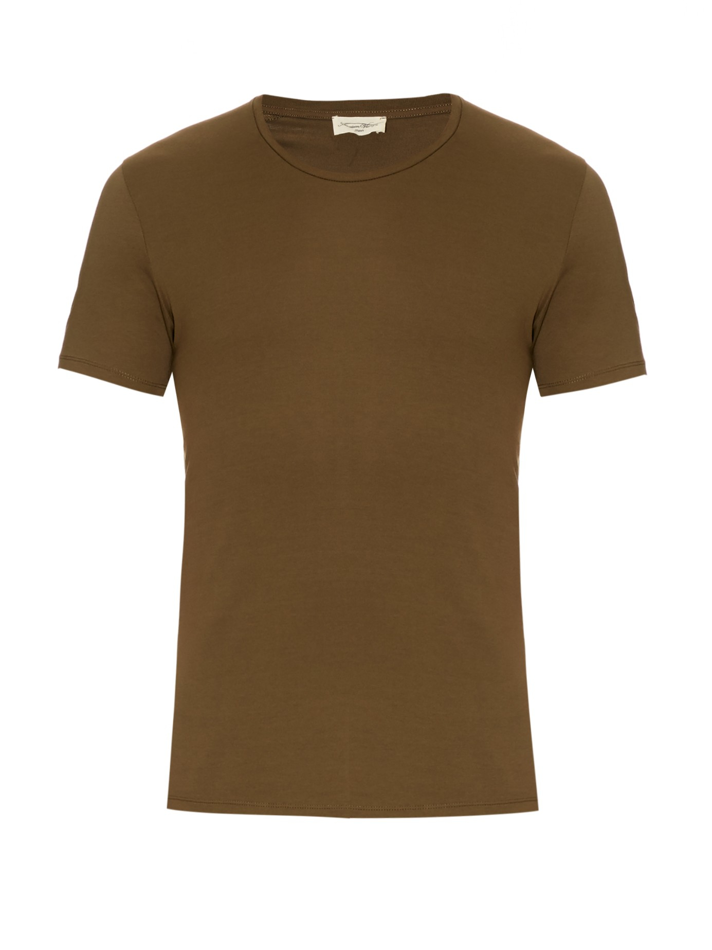 American Vintage Crew Neck Cotton T Shirt In Natural For