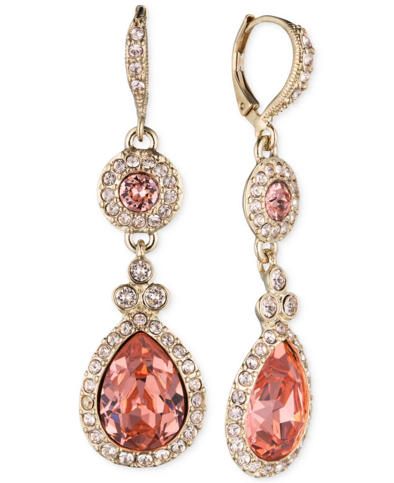 Givenchy Gold Tone Rose Peach Crystal Double Drop Earrings In Pink Lyst