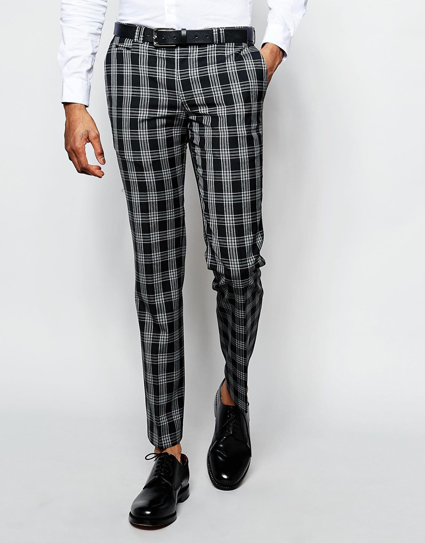 dab3514b9b23 Noak Monochrome Check Suit Trousers In Super Skinny Fit in Black for ...