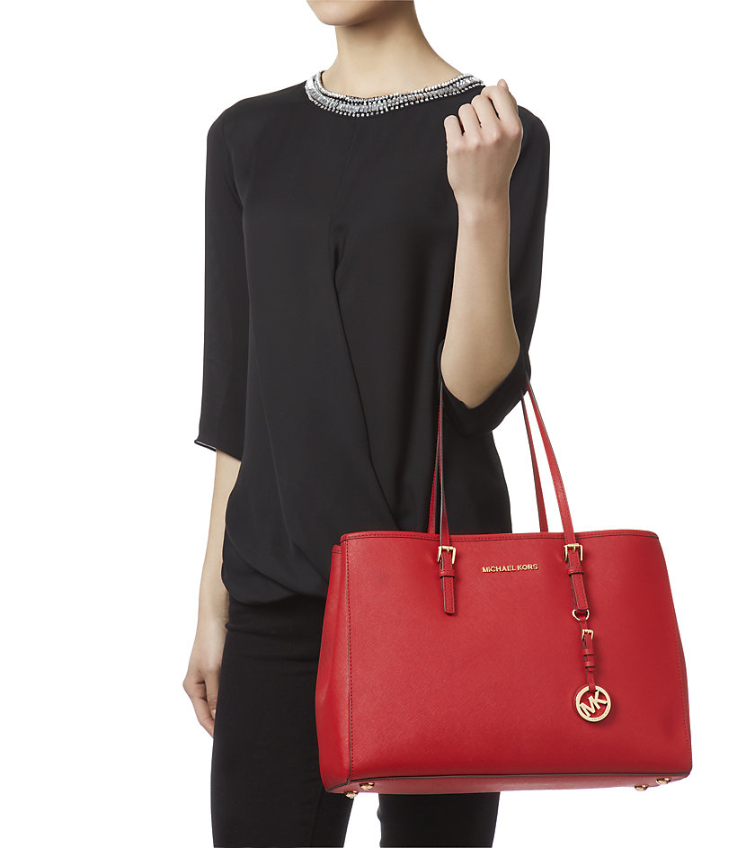 MICHAEL Michael Kors Large Jet Set Travel East West Tote in Red