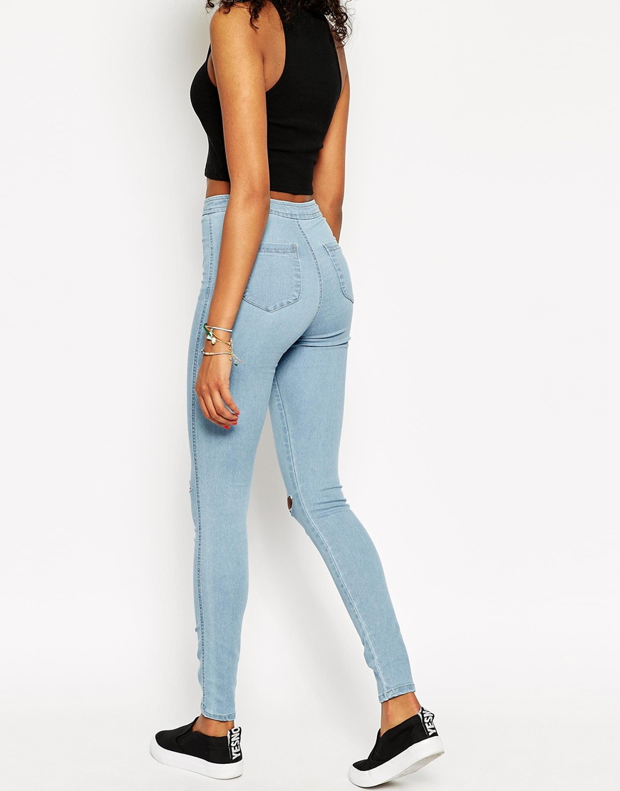 Be Inspired - Asos Rivington Jegging In Lightwash Blue With Displaced Ripped