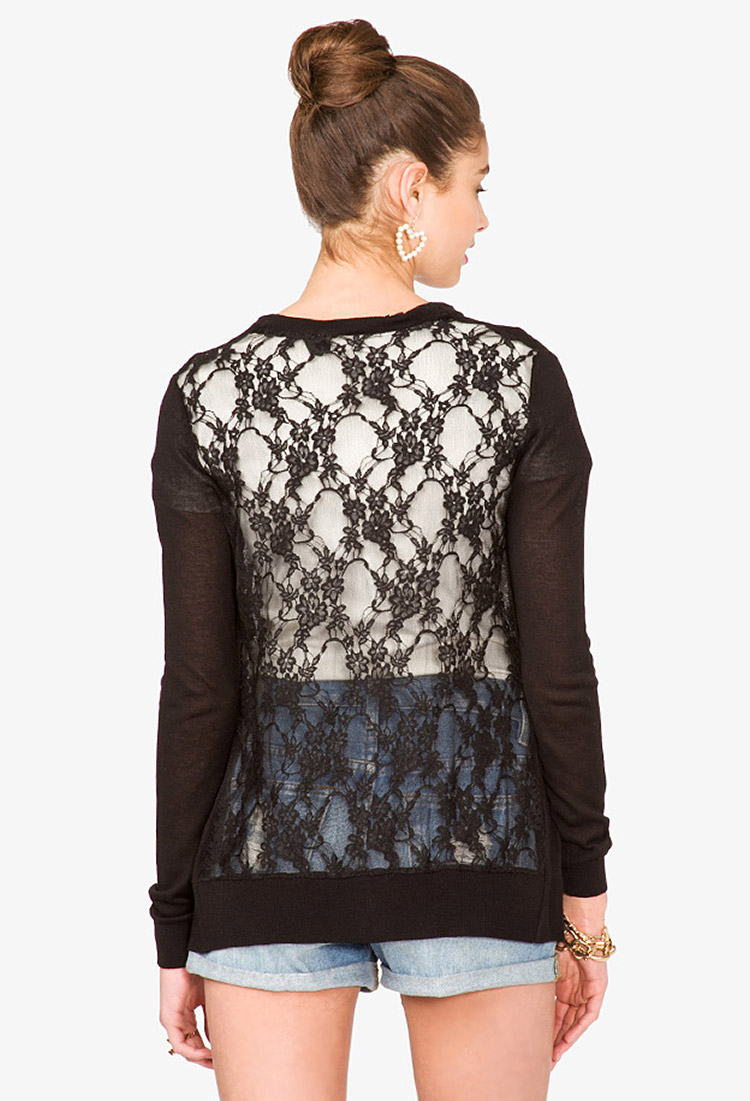 Forever 21 Openknit Floral Lace Cardigan in Black | Lyst