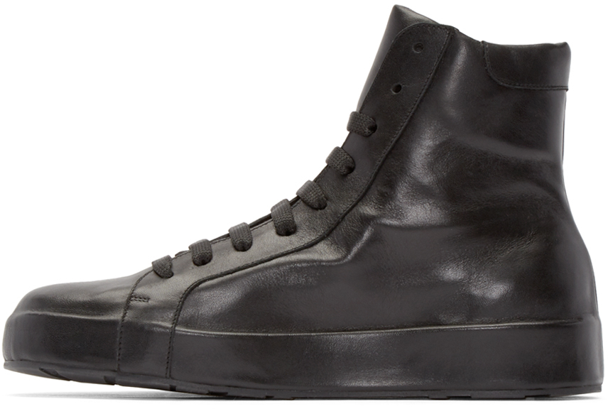 Jil Sander Black Leather High-top Sneakers