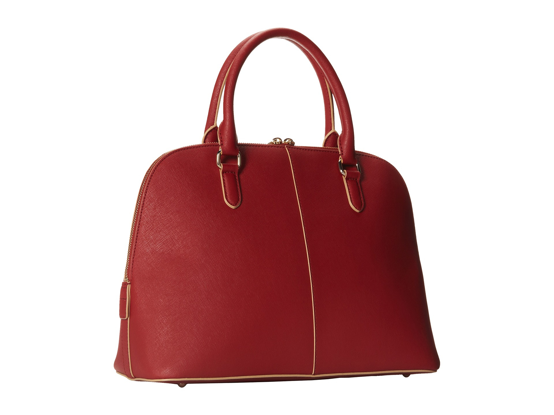 dkny bryant park saffiano leather round satchel w det ss in red brick lyst. Black Bedroom Furniture Sets. Home Design Ideas