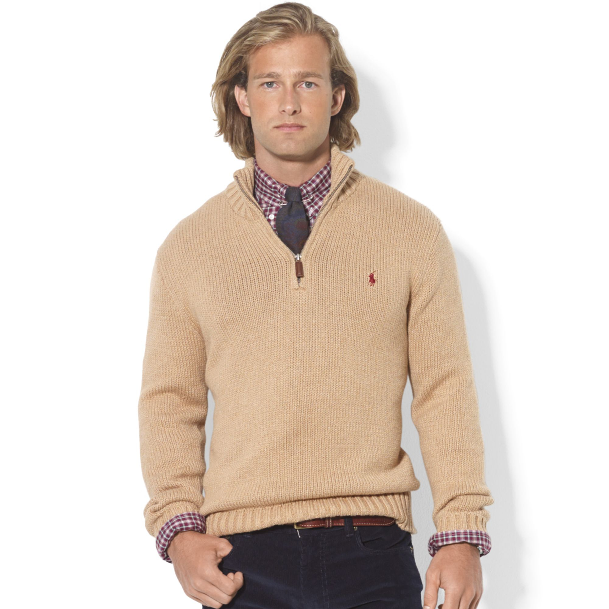 Ralph lauren Halfzip Mock Neck Hightwist Cotton Pullover in ...