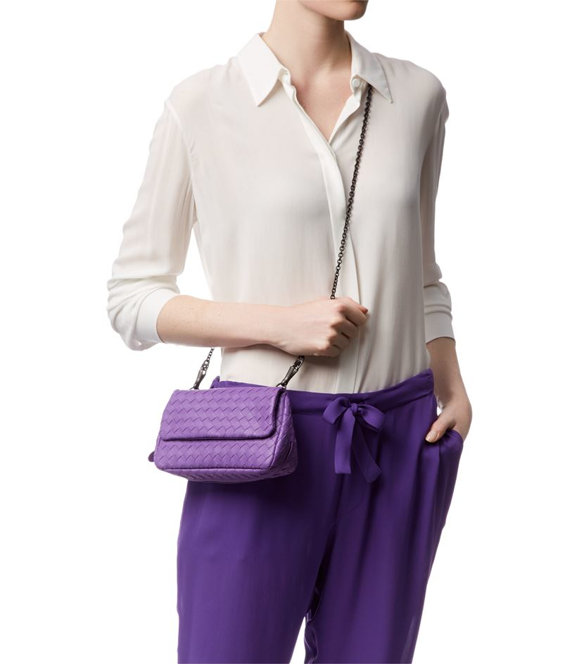 Bottega Veneta Mini Intrecciato Chain Crossbody Bag in Purple - Lyst 023a52bcac167