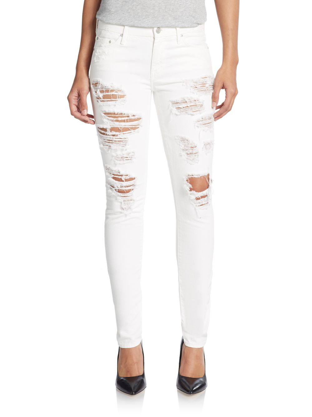 Lyst - Mother The Looker Distressed Slim-leg Jeans in White