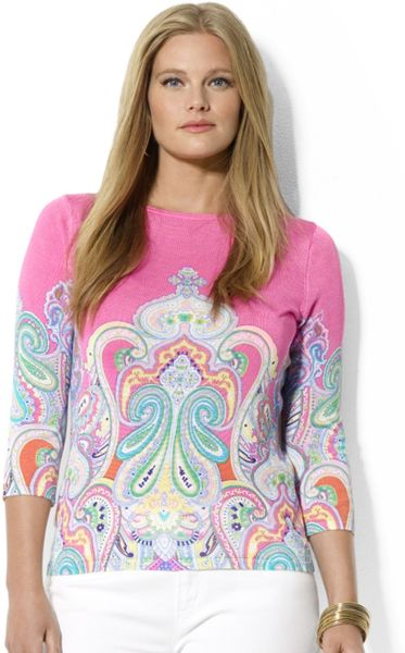 Lauren By Ralph Lauren Plus Three Quarter Sleeve Paisley Print Top in Pink (Pink Multi)