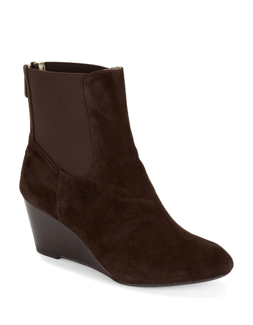 adrienne vittadini karol wedge ankle boots in brown