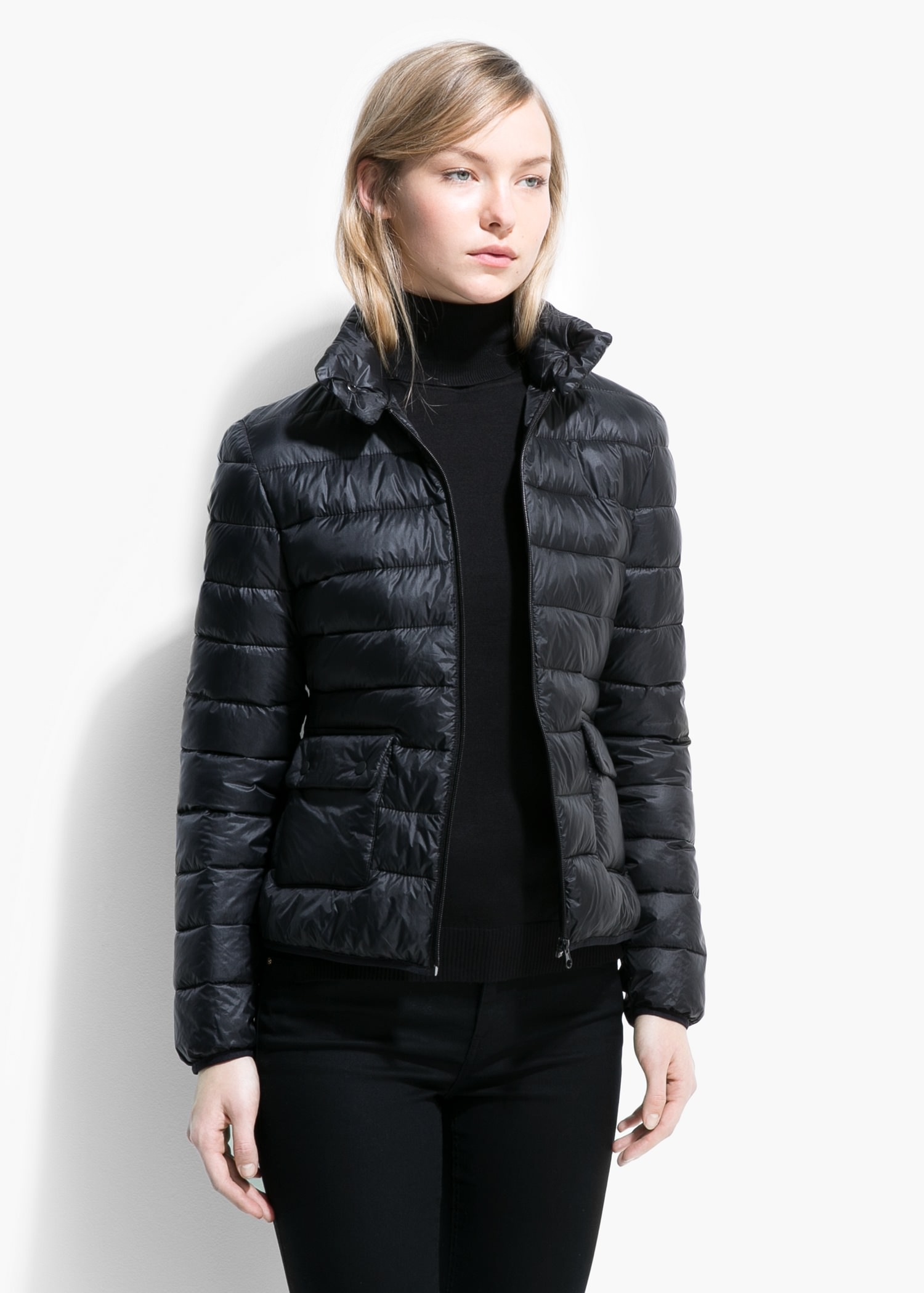 Mango Foldable Feather Down Jacket in Black | Lyst