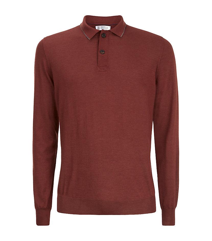 Brunello Cucinelli Cashmere Silk Blend Polo Shirt In Brown