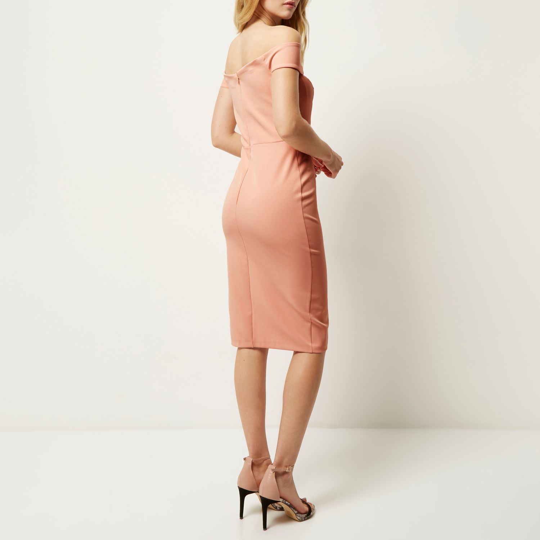 River Island Light Pink Bardot Bodycon Midi Dress Lyst
