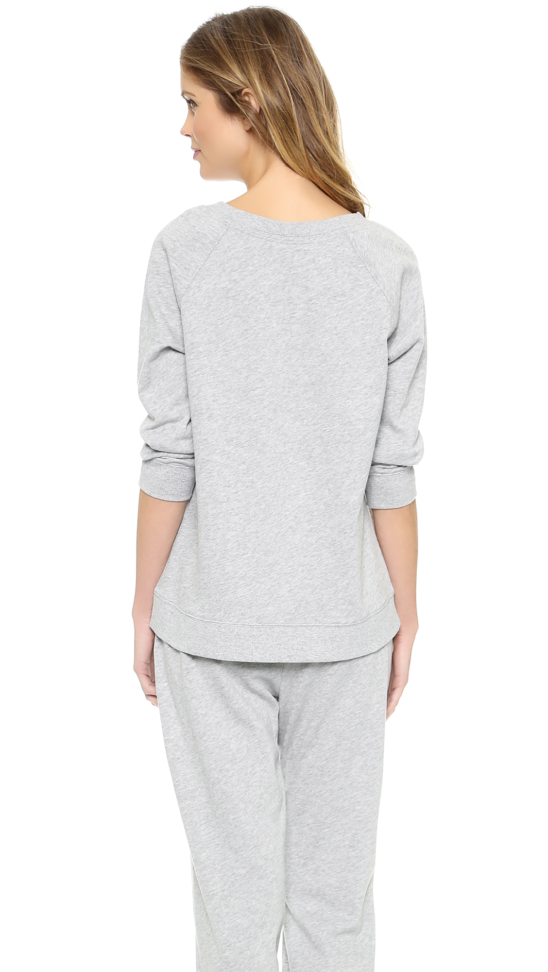 Lyst Calvin Klein Cocoon Long Sleeve Pajama Top Grey
