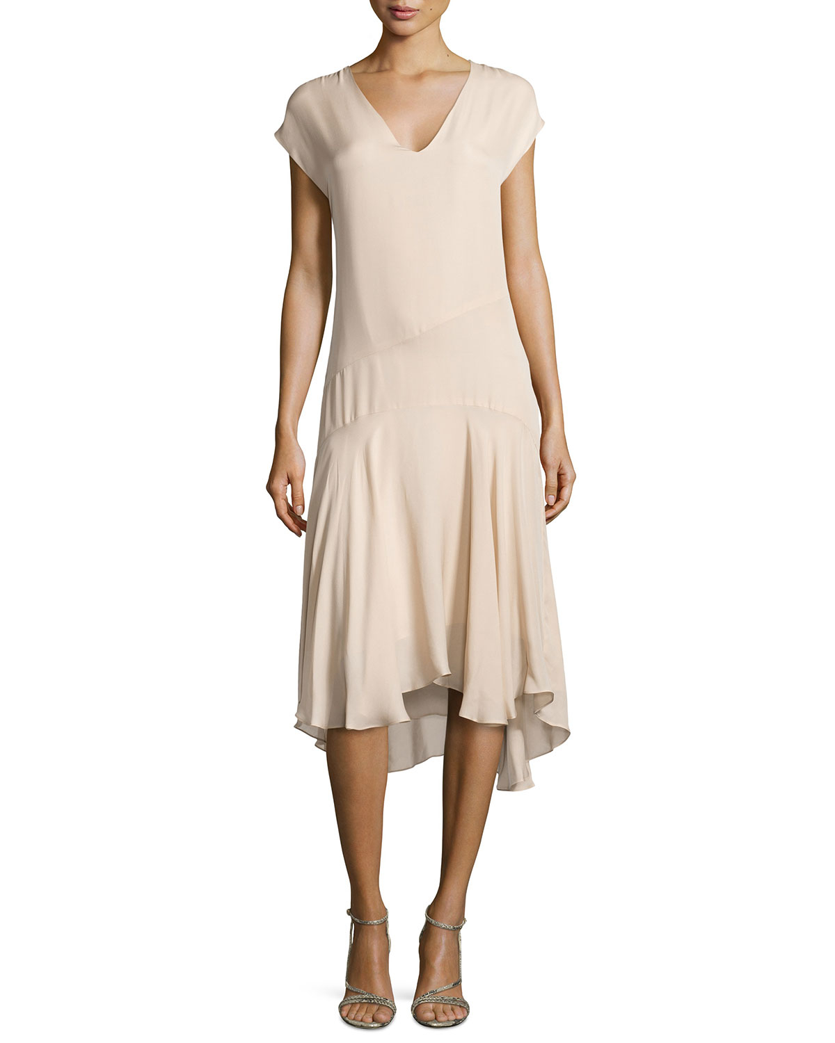 Haute hippie v neck cap sleeve chiffon dress in beige for To have and to haute dress