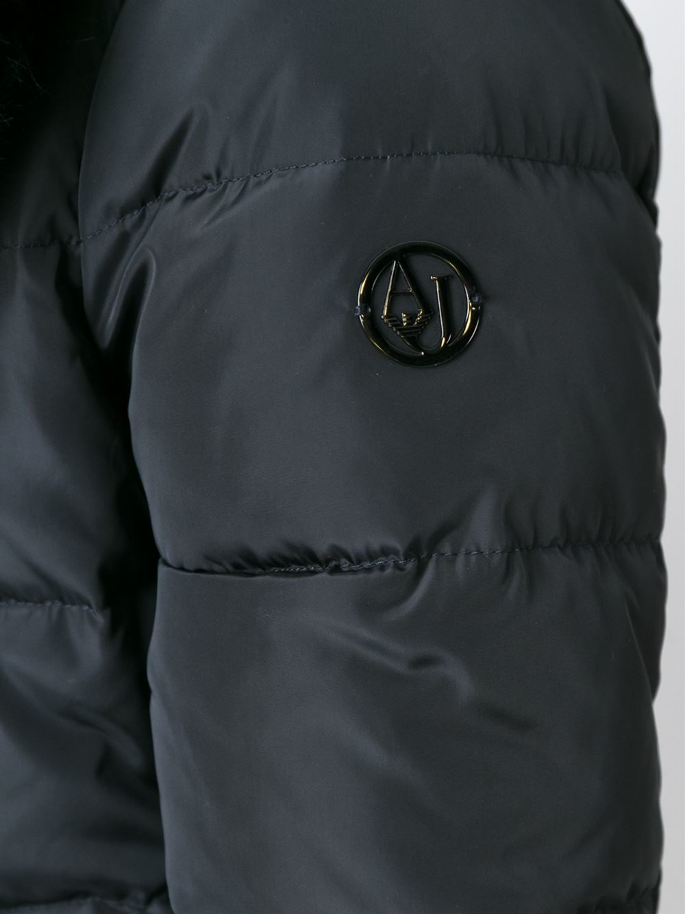 0b45951d6 Armani Jeans Faux Fur Trimmed Padded Jacket in Black - Lyst