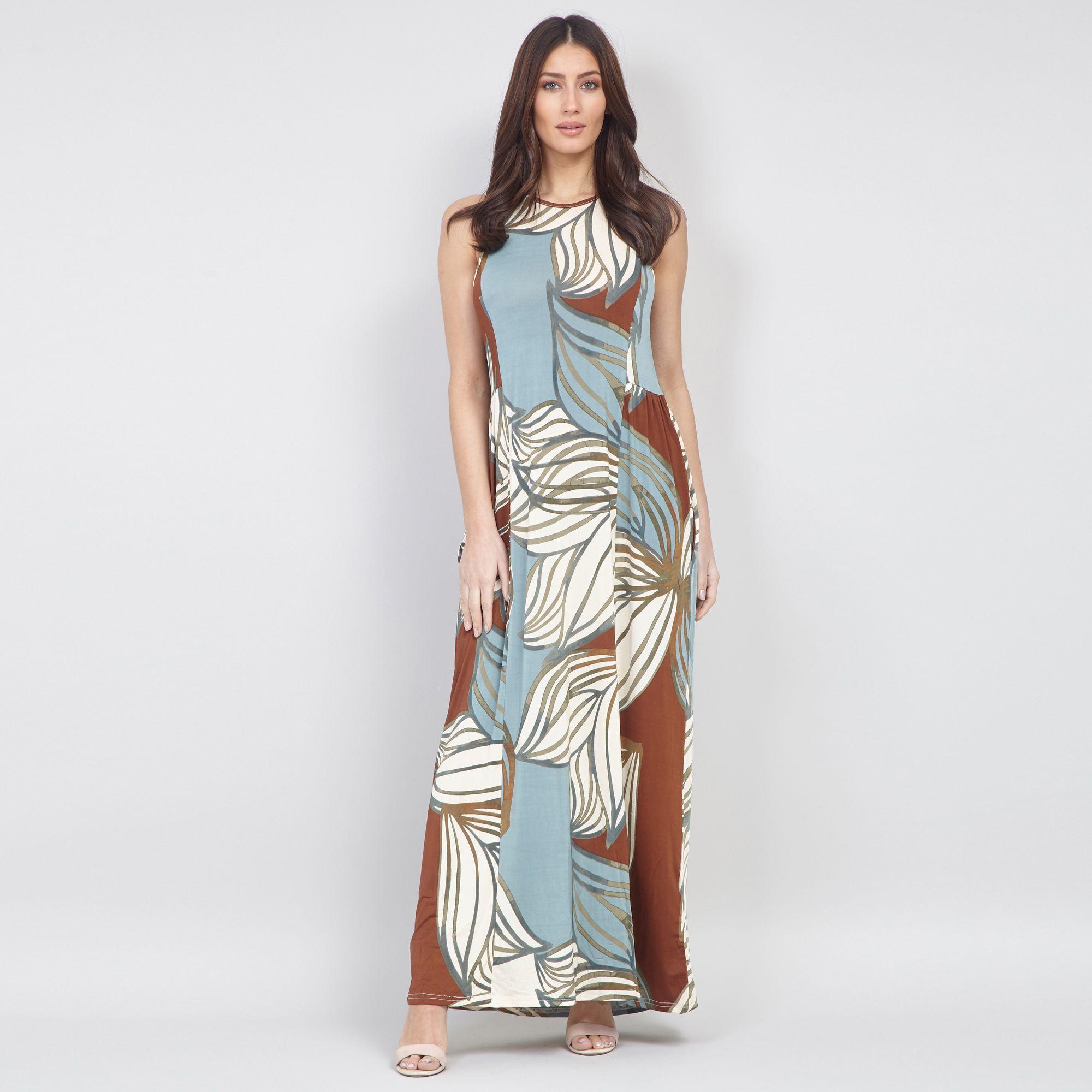 fd355d0c1810 Izabel London. Women's Beige Leaf Print Long Maxi Dress