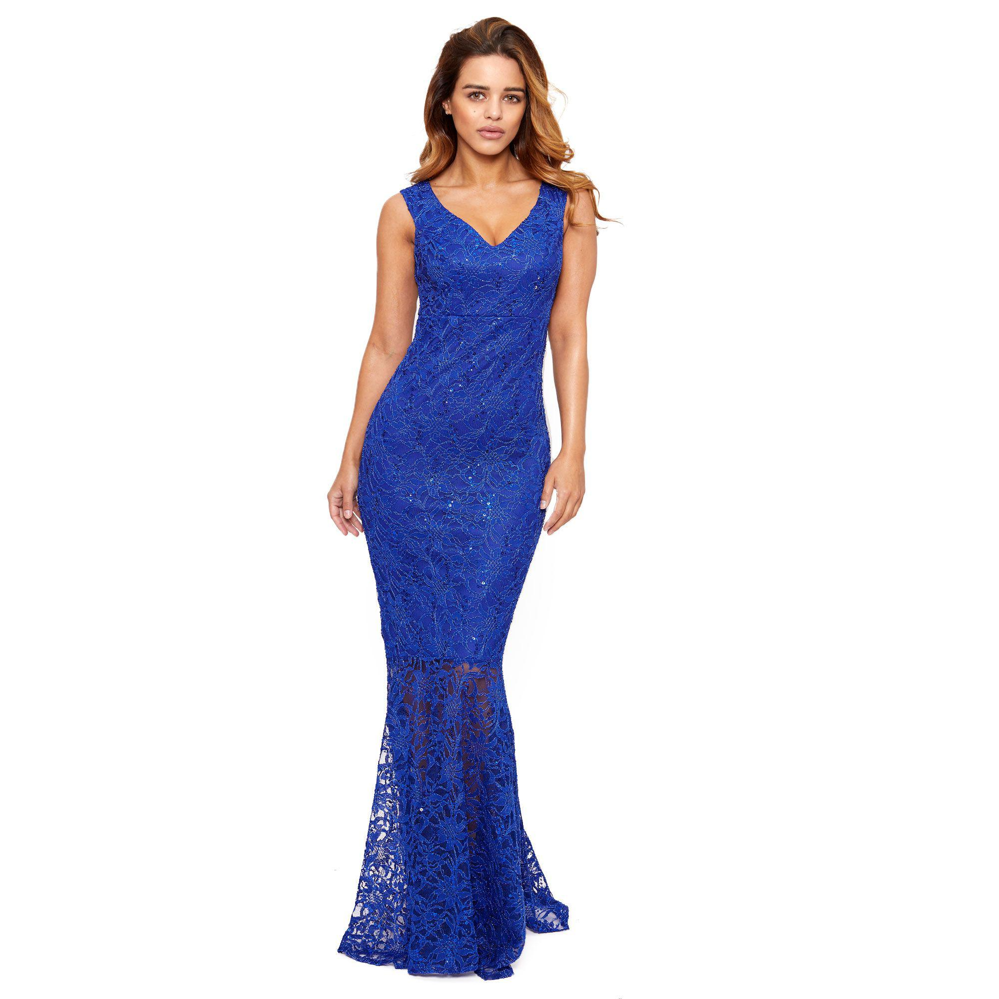e244b593 Lipstick Boutique Cobalt 'lulia' Bardot Sequin Lace Maxi Dress With ...