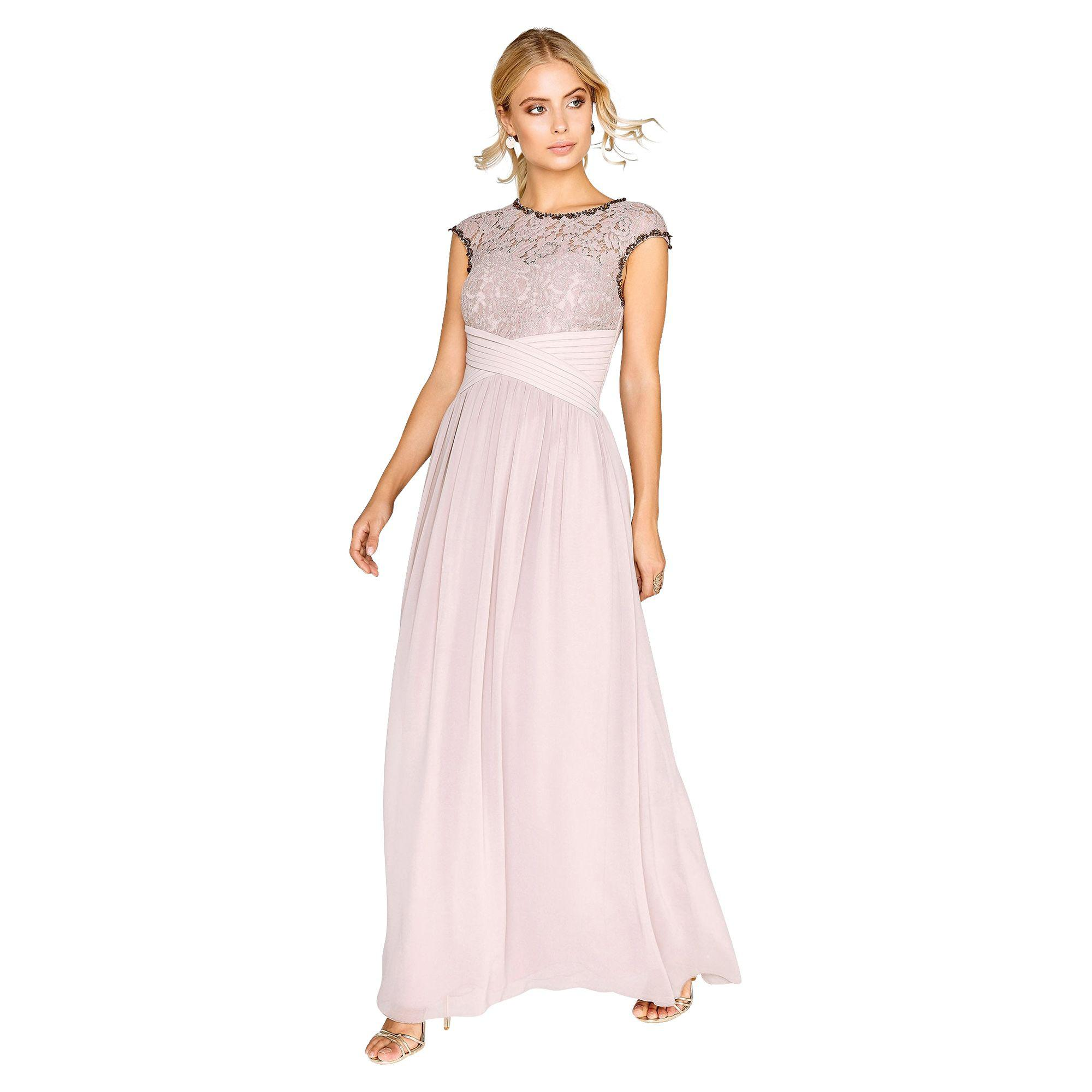 Little Mistress Mink Lace Bust Maxi Dress in Pink - Lyst 37adf4904
