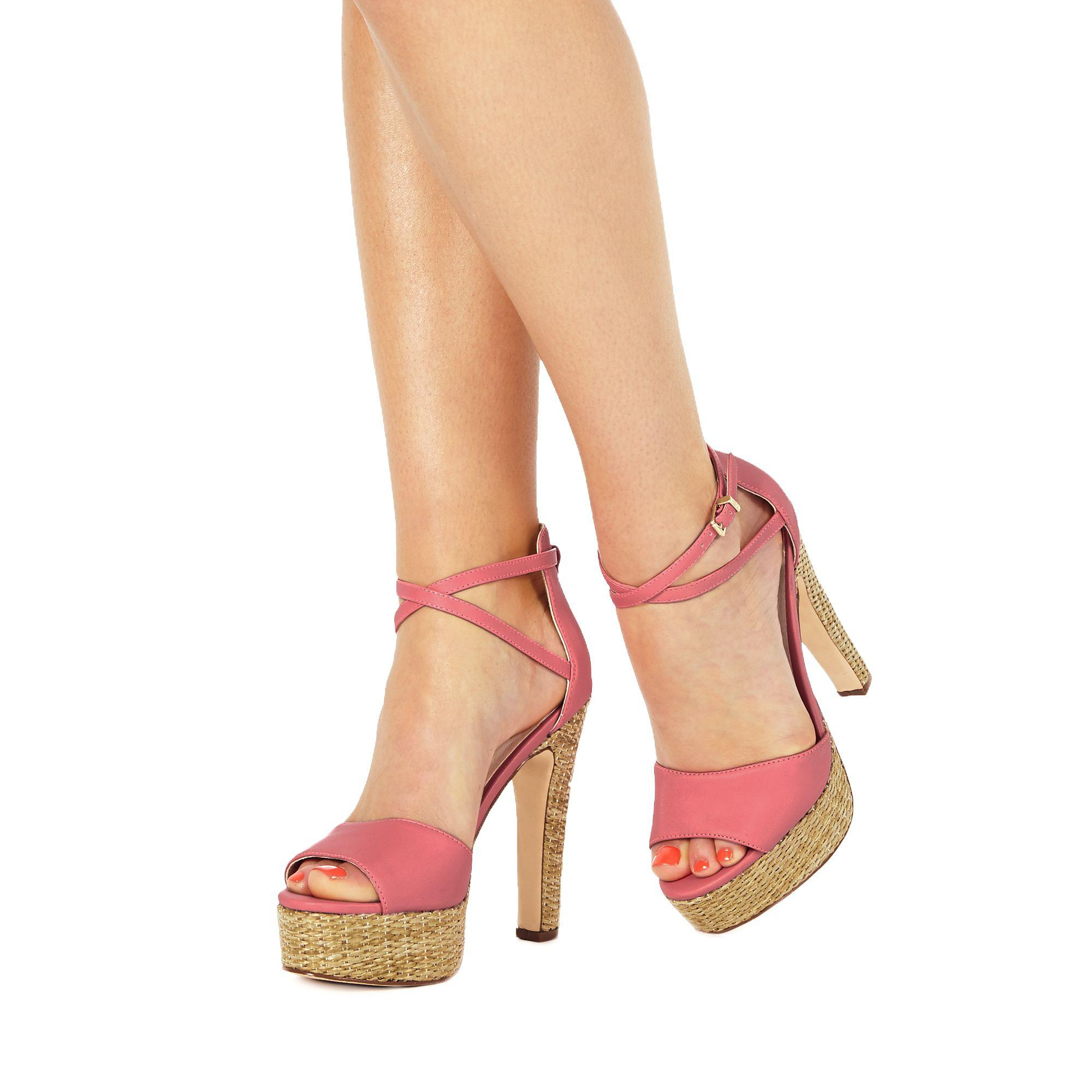 313ca936bf4c Faith Pink  layla  High Block Heel Ankle Strap Sandals in Pink - Lyst