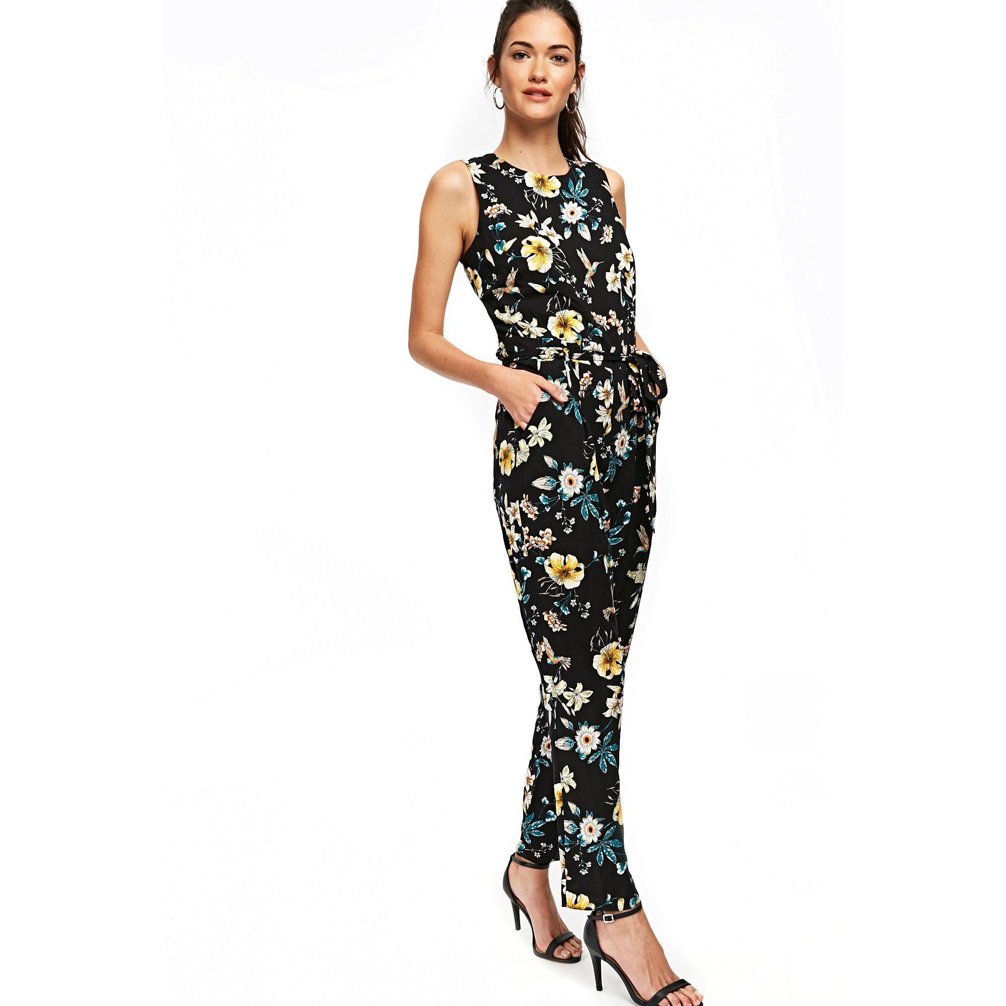 ea44c57ff51 Wallis Black Bird Printed Jumpsuit in Black - Save 33% - Lyst