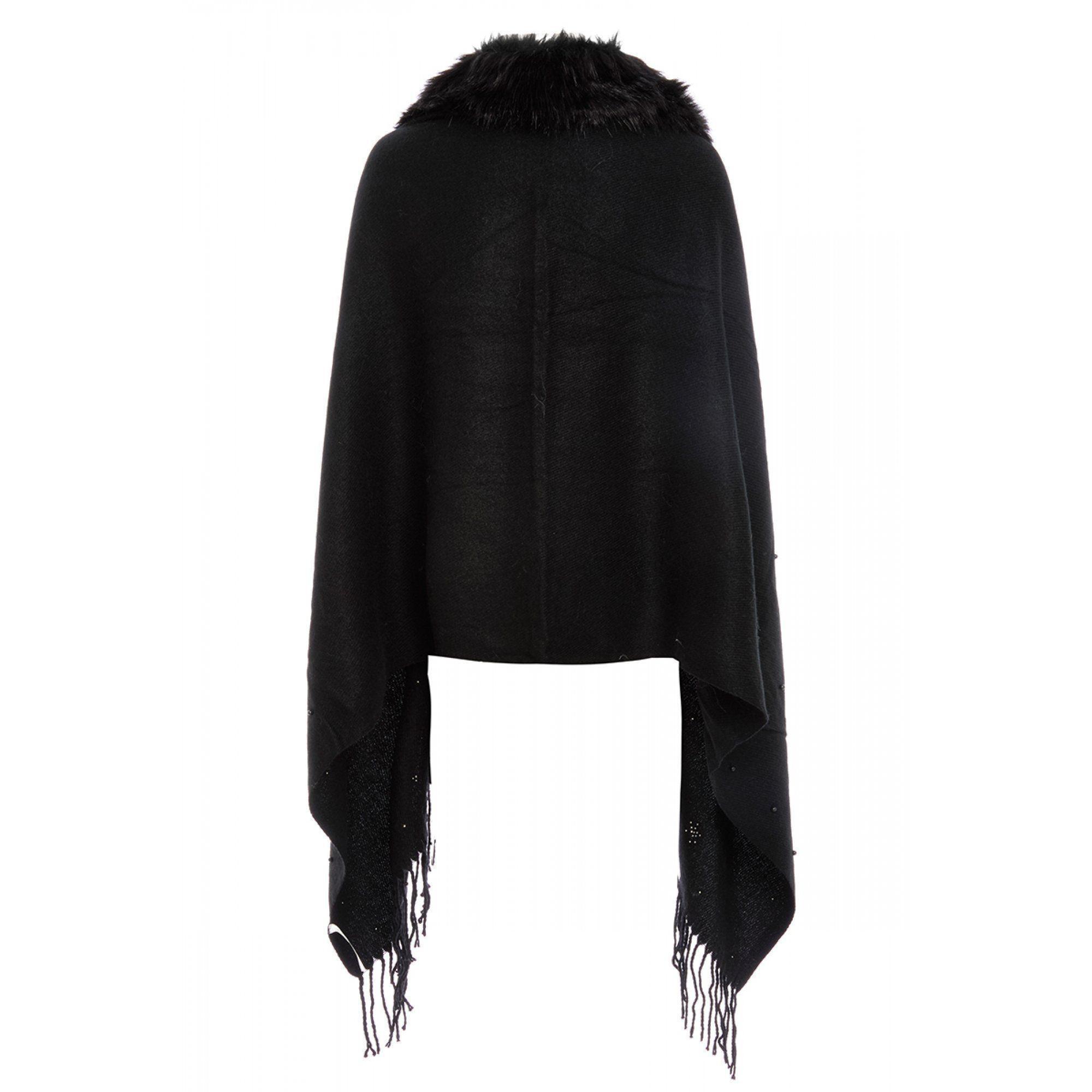 4ec7ad16ca38a Quiz - Black Pearl Faux Fur Trim Cape - Lyst. View fullscreen