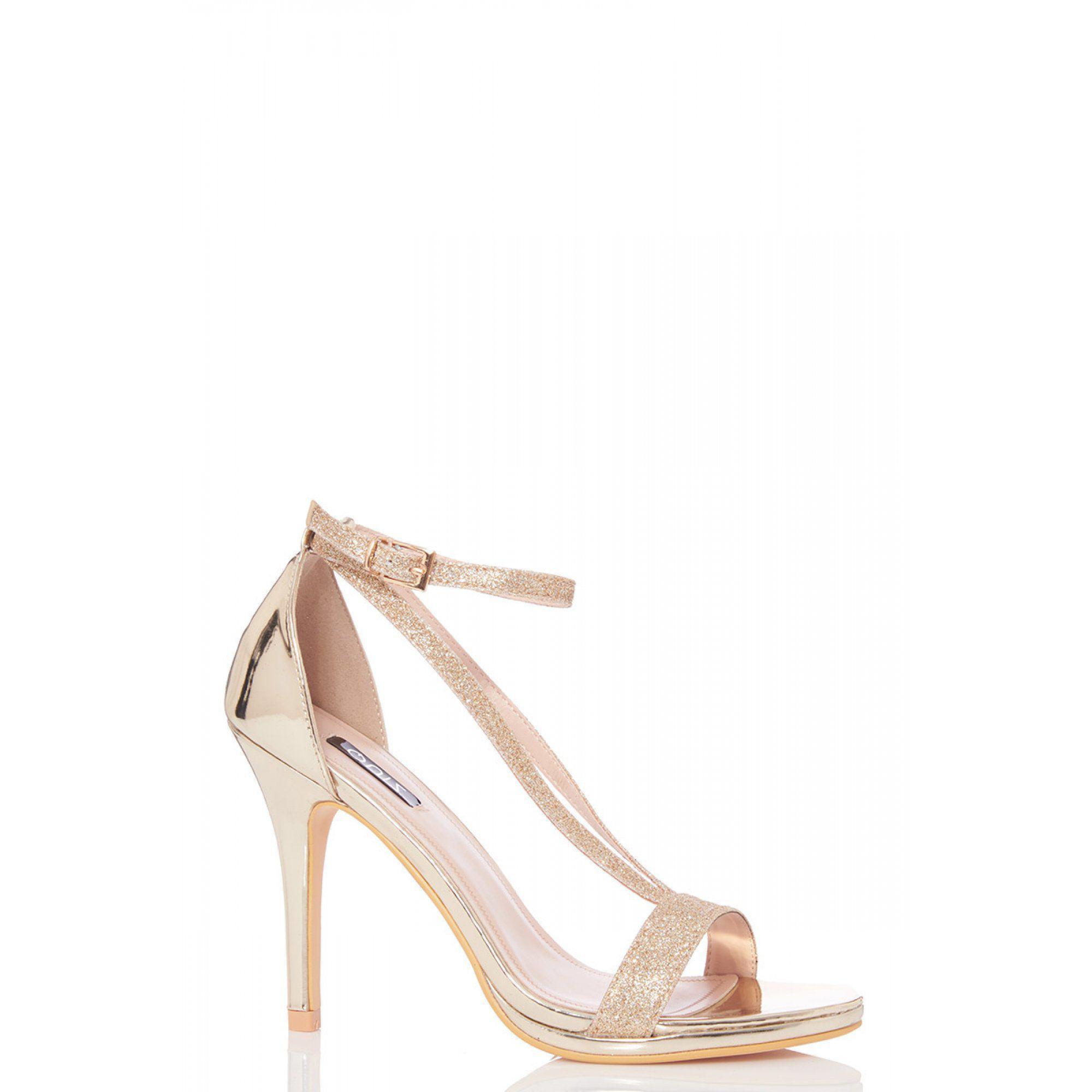 0af177e100d Quiz Gold Glitter Strap Heel Sandals in Metallic - Lyst