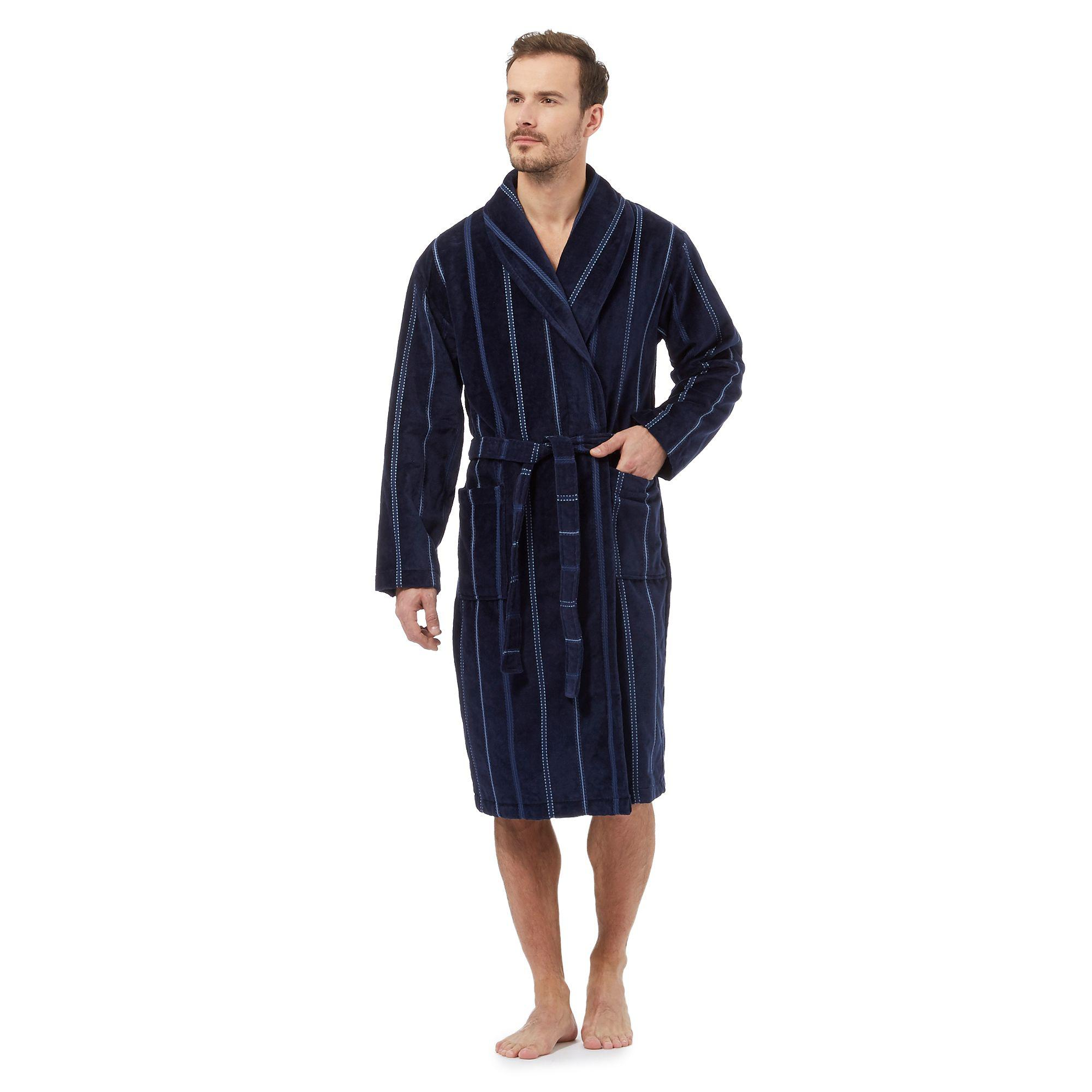 J By Jasper Conran Navy Striped Velour Dressing Gown in Blue for Men ...
