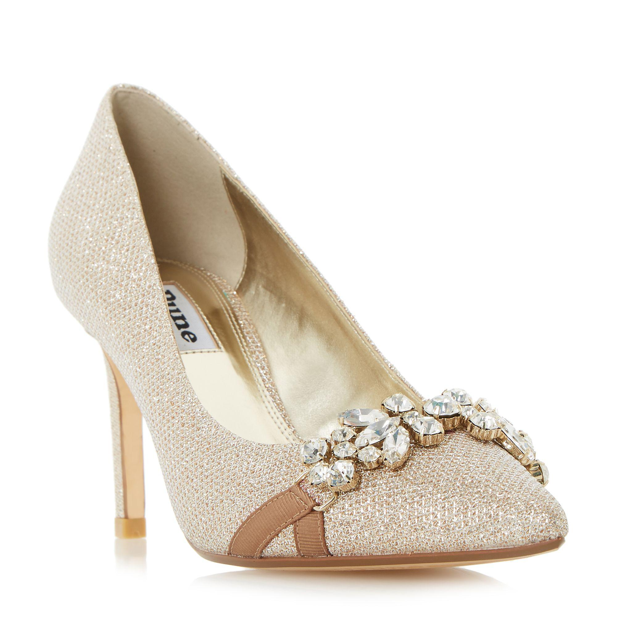 05dc0f4c1de Dune Gold  blair Di  Jewel Detail Pointed Toe Court Shoe in Metallic ...