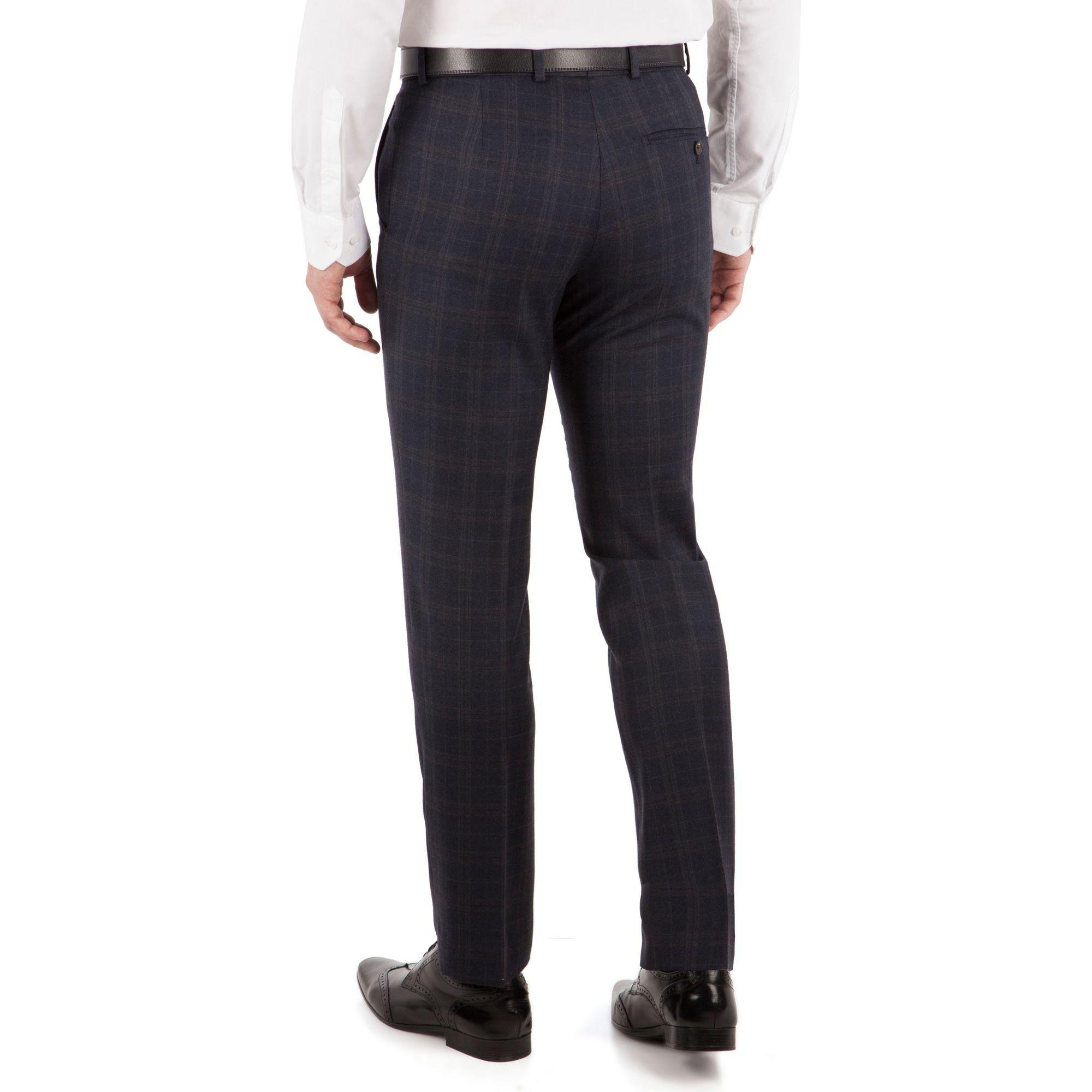 J By Jasper Conran Wool Navy With Caramel Check Flat Front Tailored Fit Luxury Suit Trouser in Blue for Men