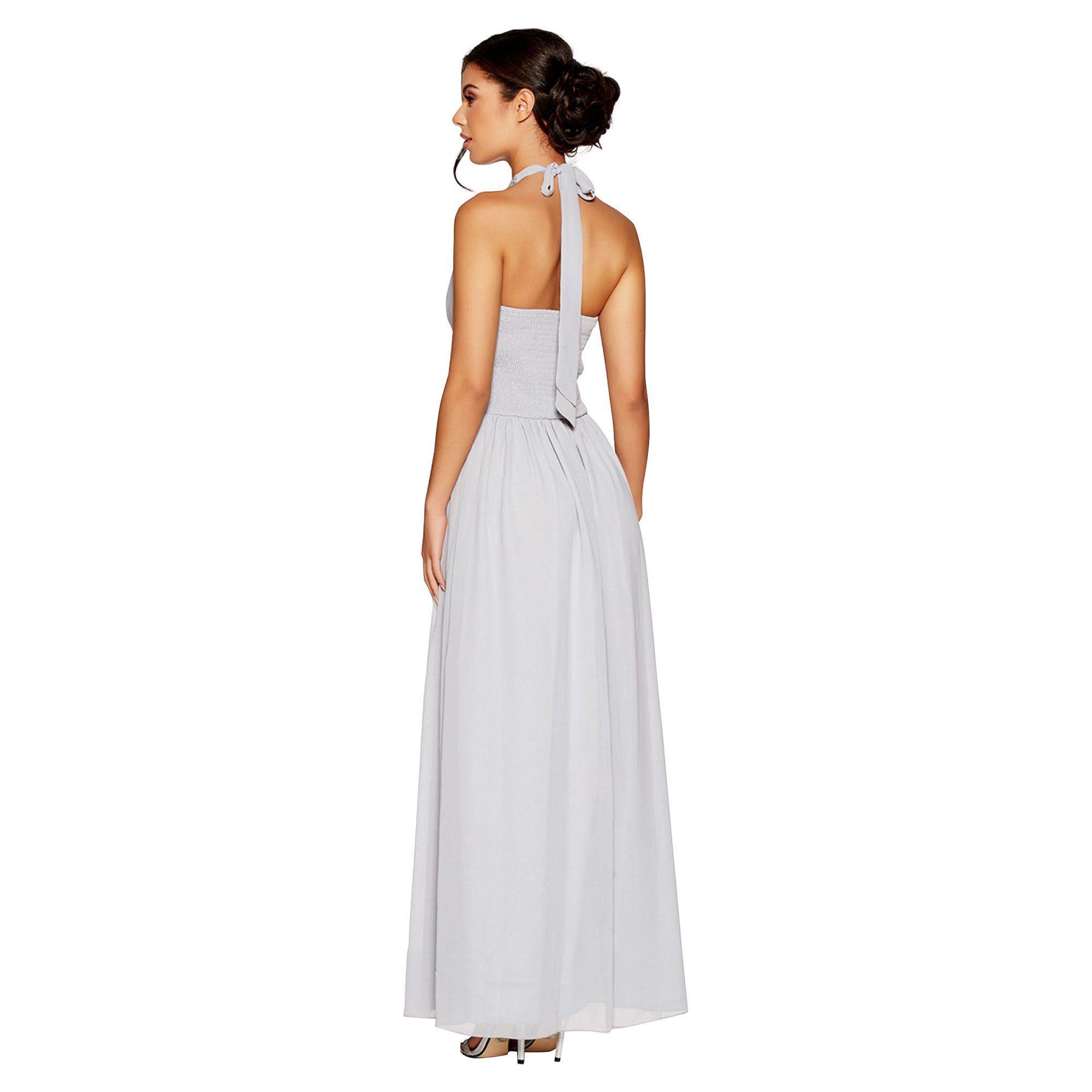 86ef0416e9a6 ... Quiz - Gray Grey Chiffon Embellished Keyhole Maxi Dress - Lyst. Visit  Debenhams. Tap to visit site